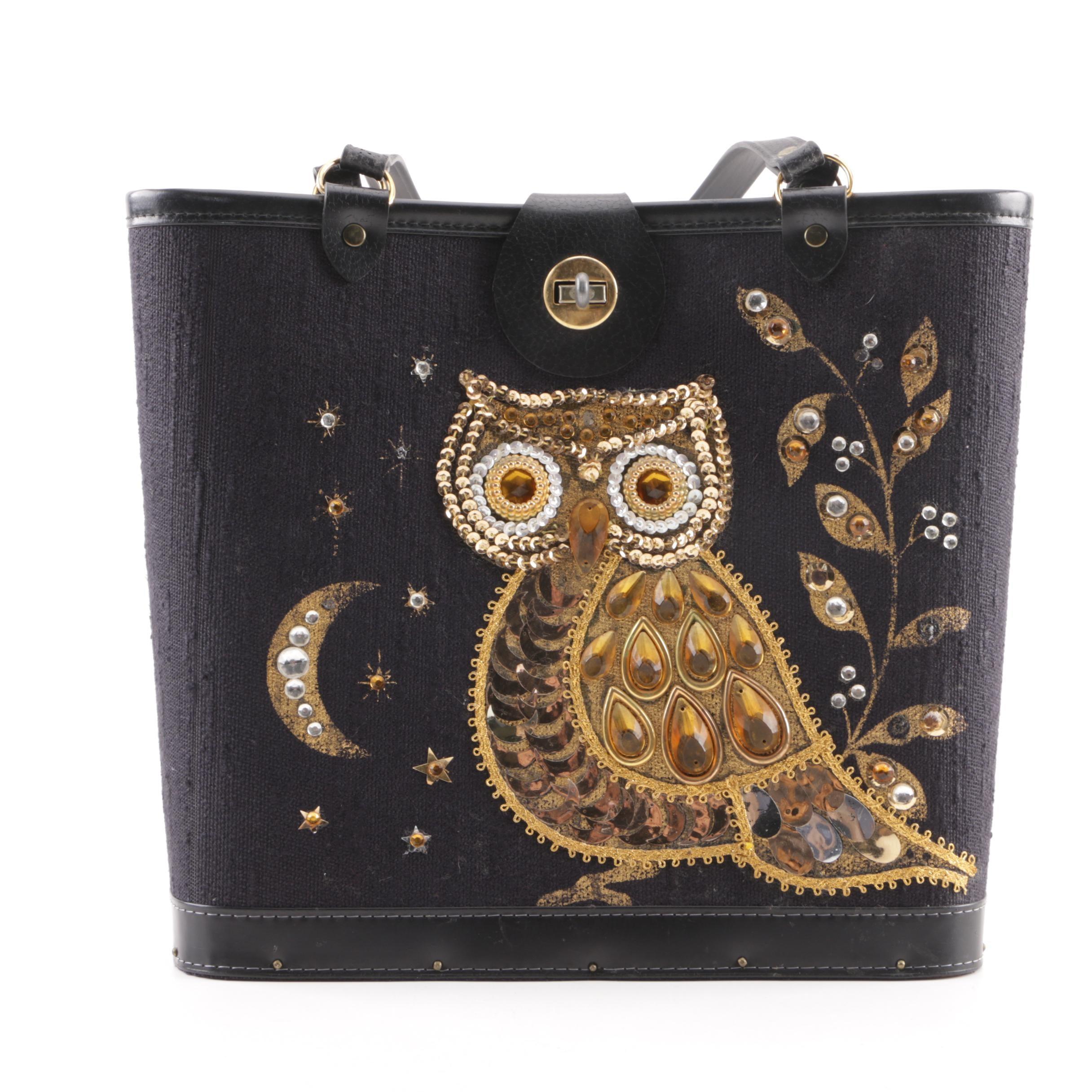 Vintage Owl Motif Sequin Embellished Bucket Bag with a Wooden Base