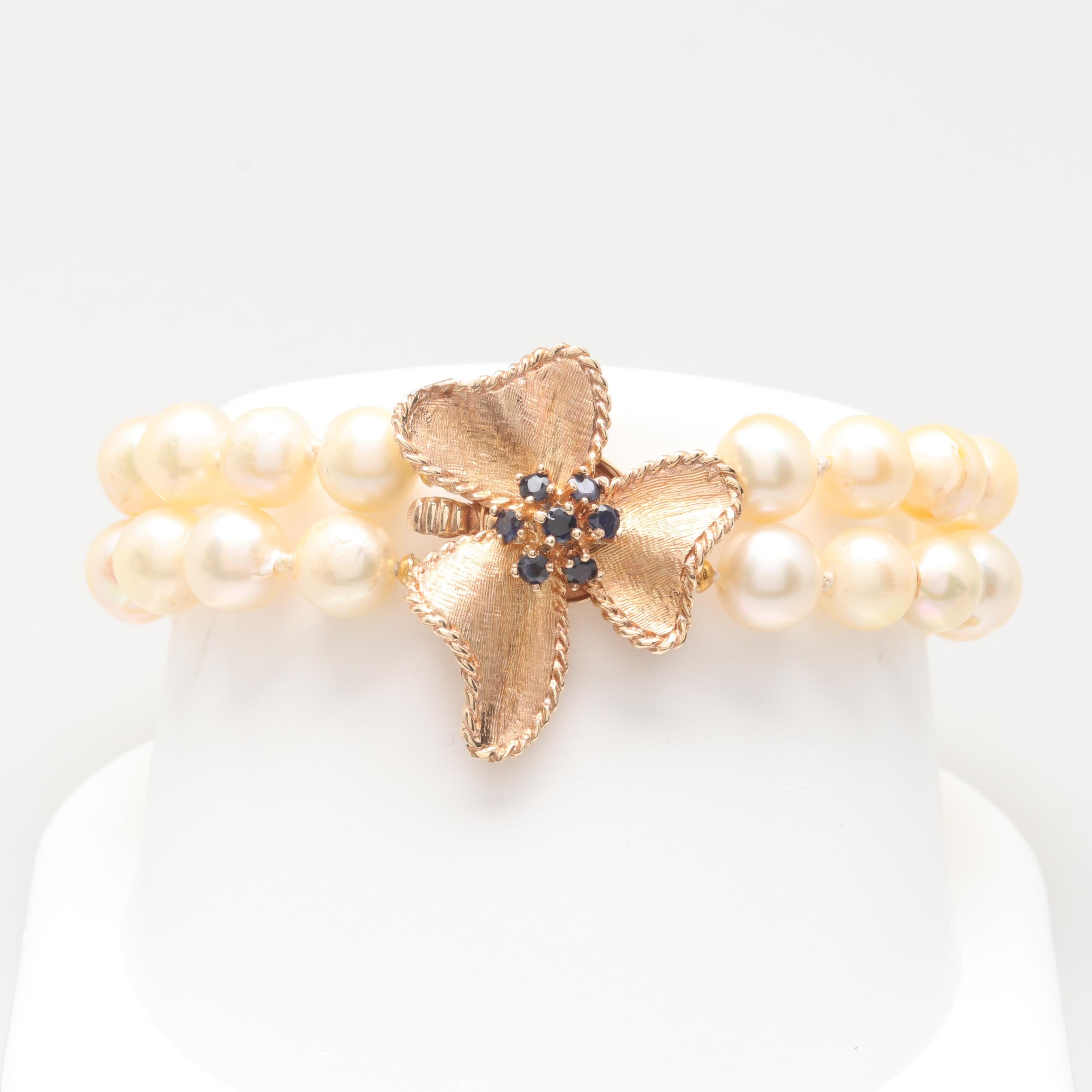 14K Yellow Gold Cultured Pearl and Blue Sapphire Bracelet