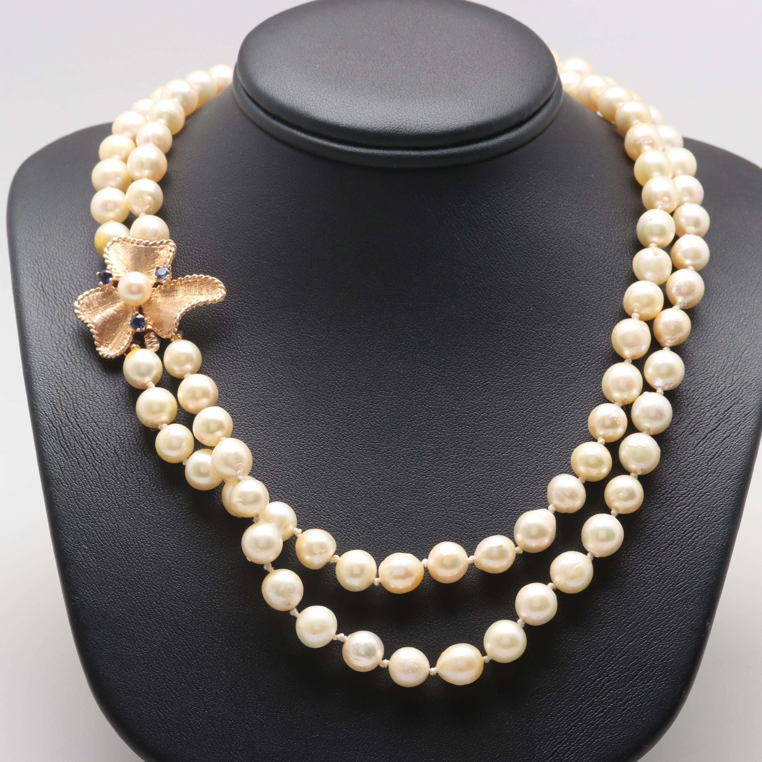 14K Yellow Gold Cultured Pearl and Synthetic Sapphire Necklace
