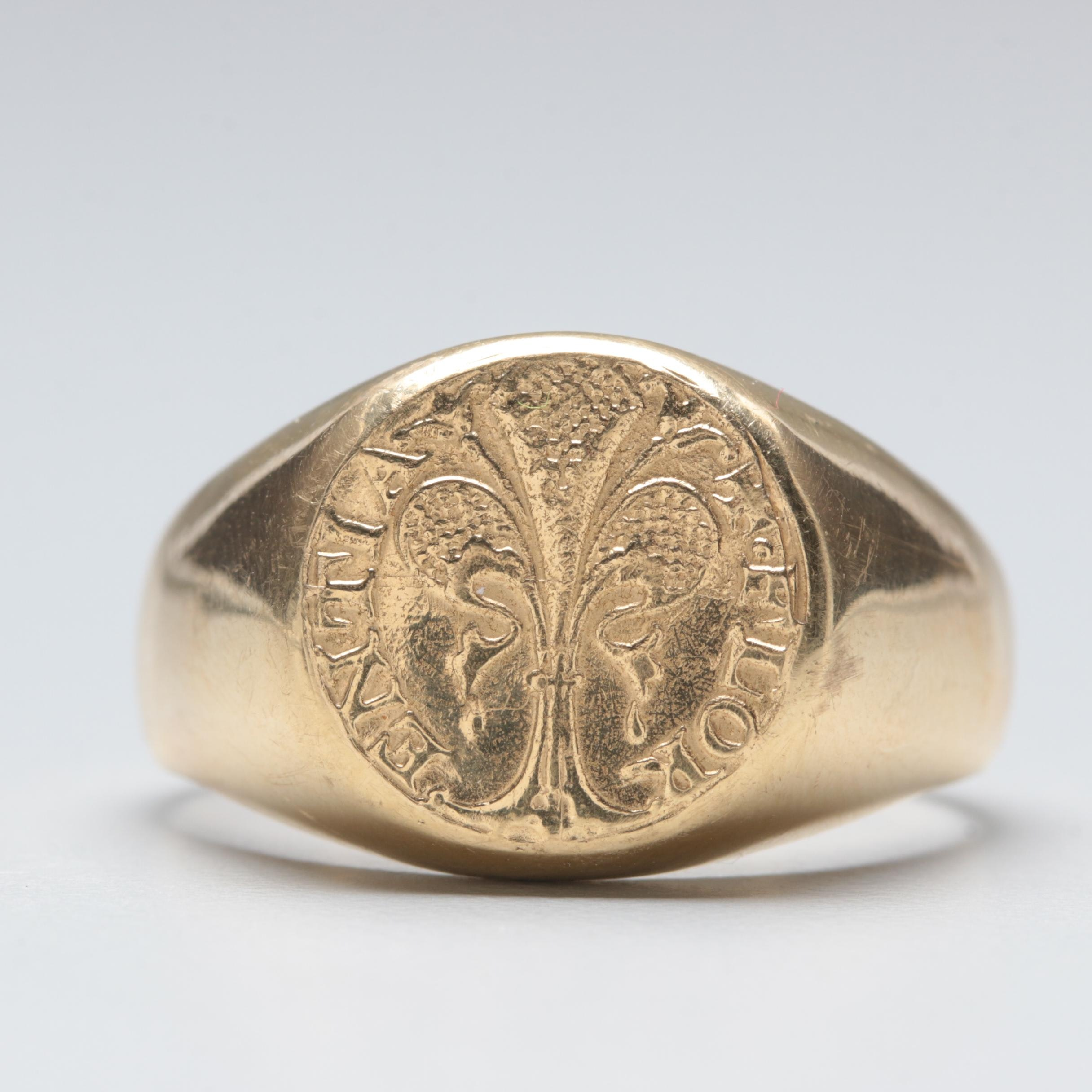 18K Yellow Gold Coin Mounted Ring