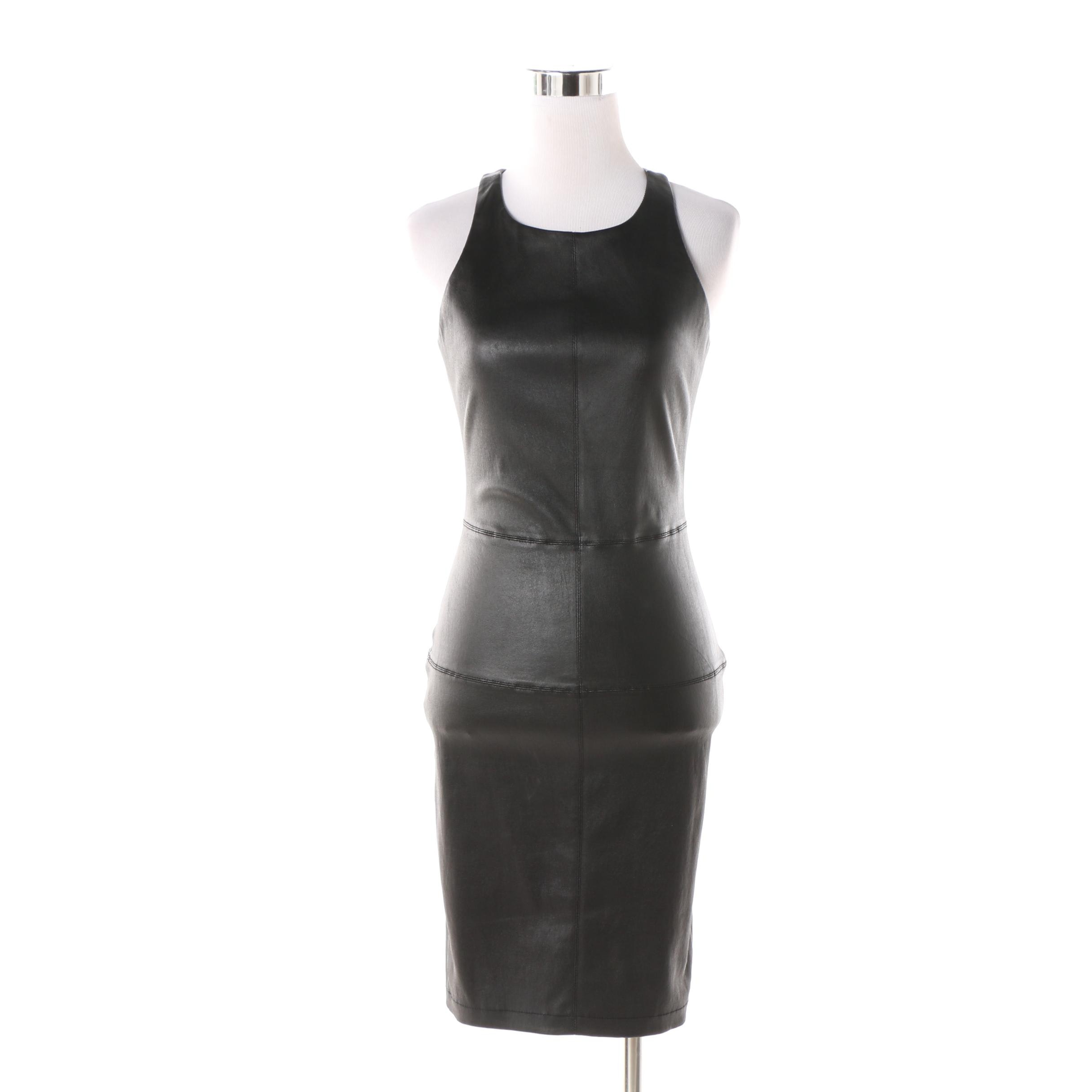 Elizabeth and James Black Lambskin Leather Lacerback Dress