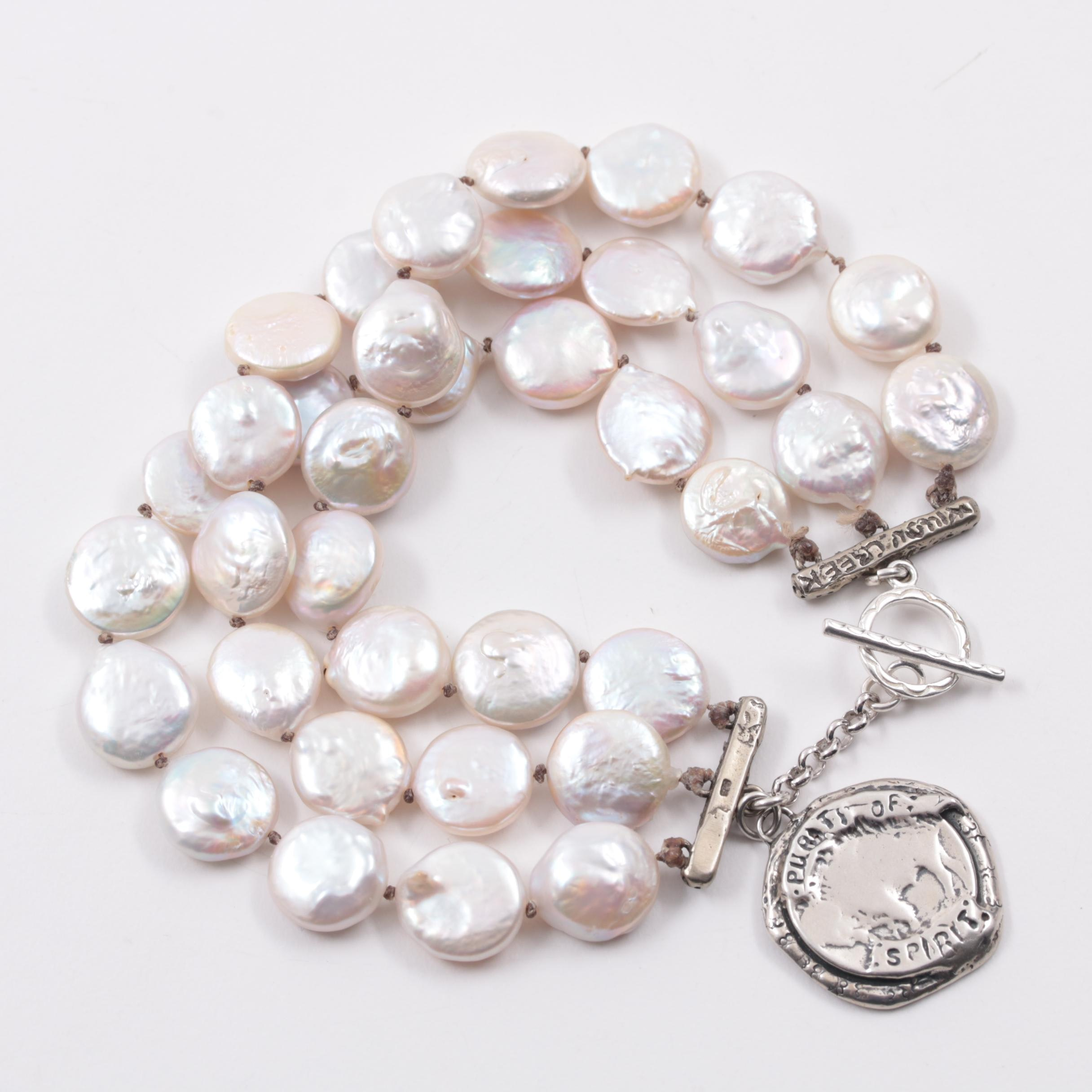 Michele Smith for Willow Creek Sterling Silver Coin Cultured Pearl Bracelet