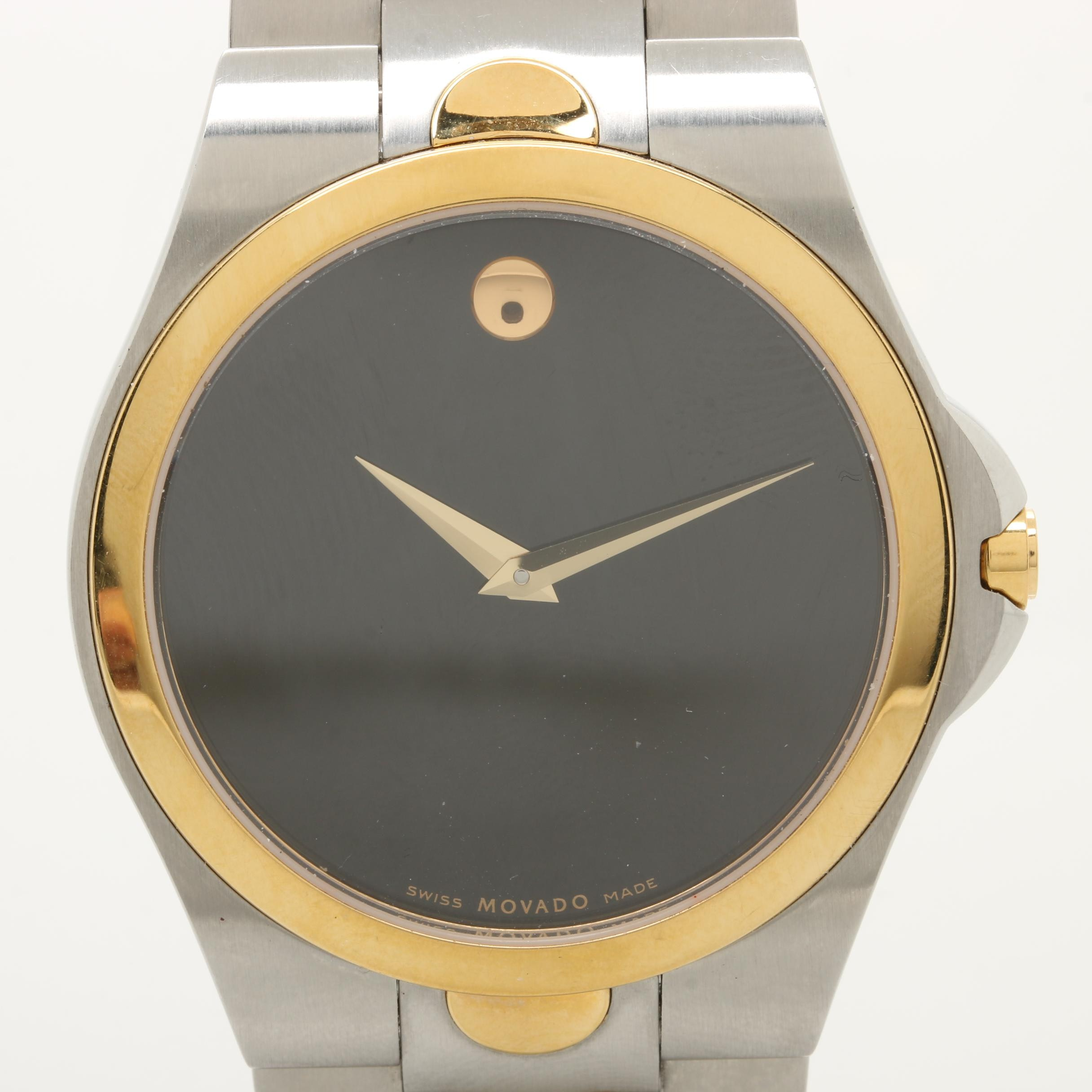 Movado Two Tone Stainless Steel Black Dial Wristwatch