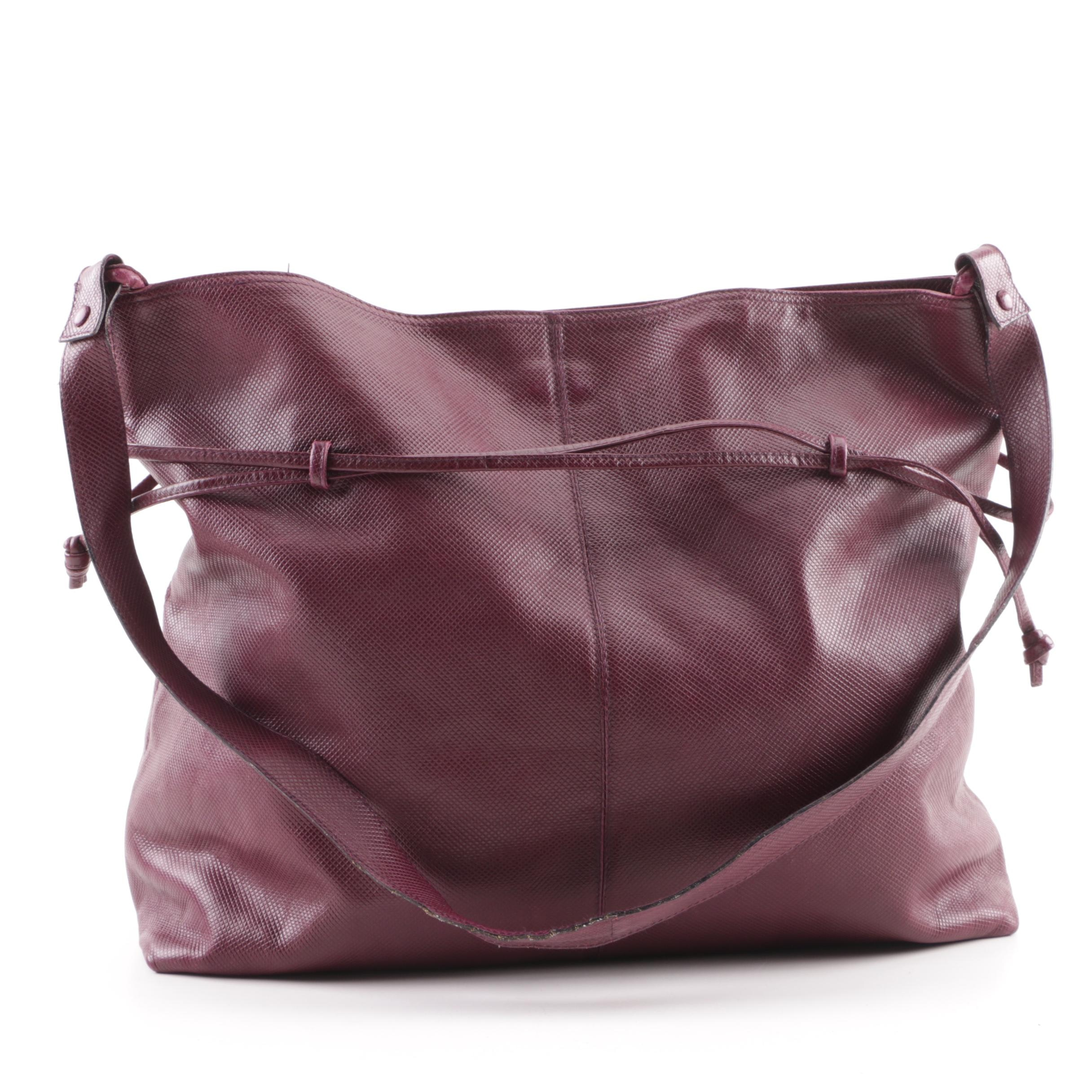 Bottega Veneta Embossed Oxblood Leather Shoulder Bag