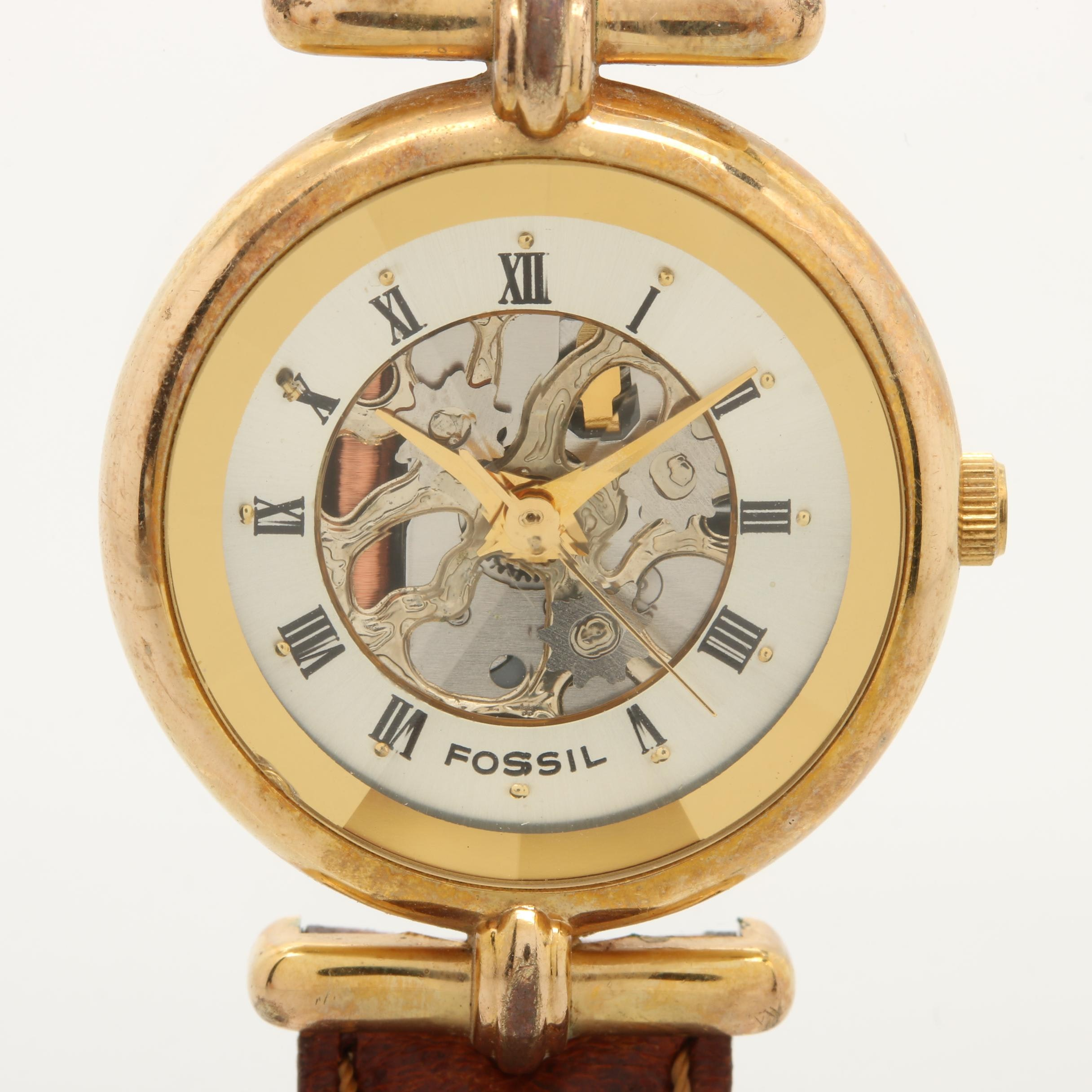 Fossil Gold Tone and Stainless Steel Leather Wristwatch