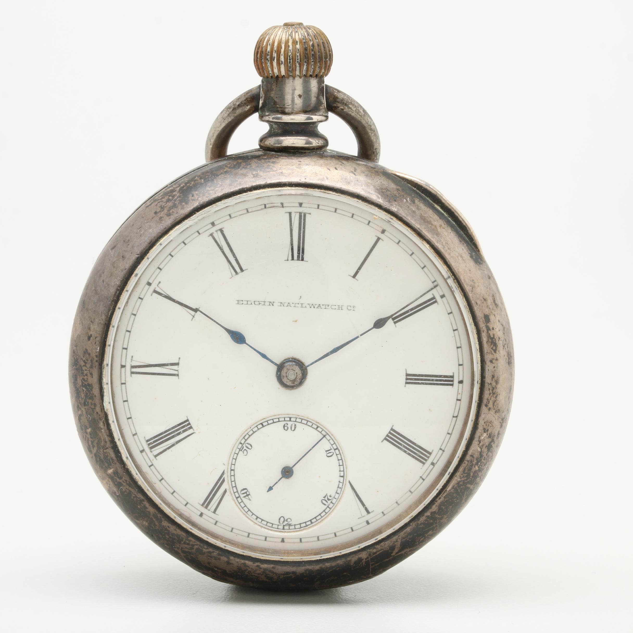Circa 1887 Elgin Nickel and Coin Silver Double Case Pocket Watch