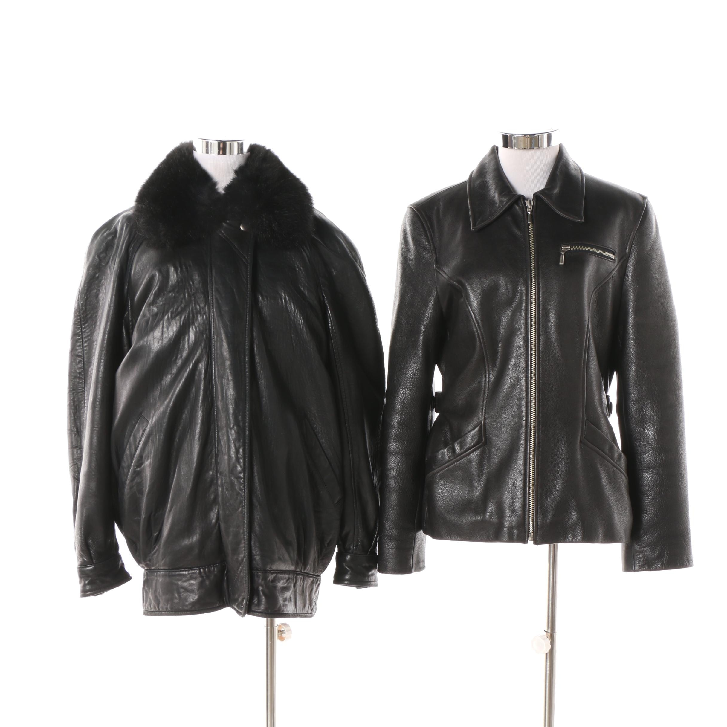 Women's Leather Jackets Featuring Andrew Marc Opossum Fur-Lined Jacket