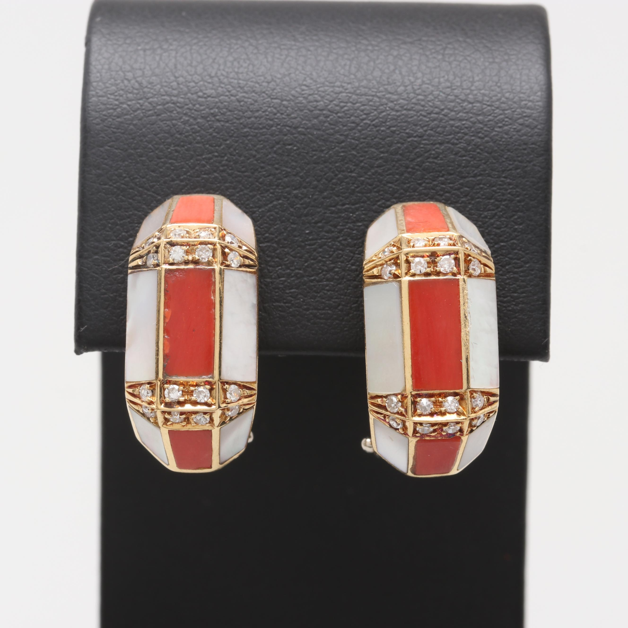 18K Yellow and White Gold Diamond, Coral, and Mother of Pearl Earrings