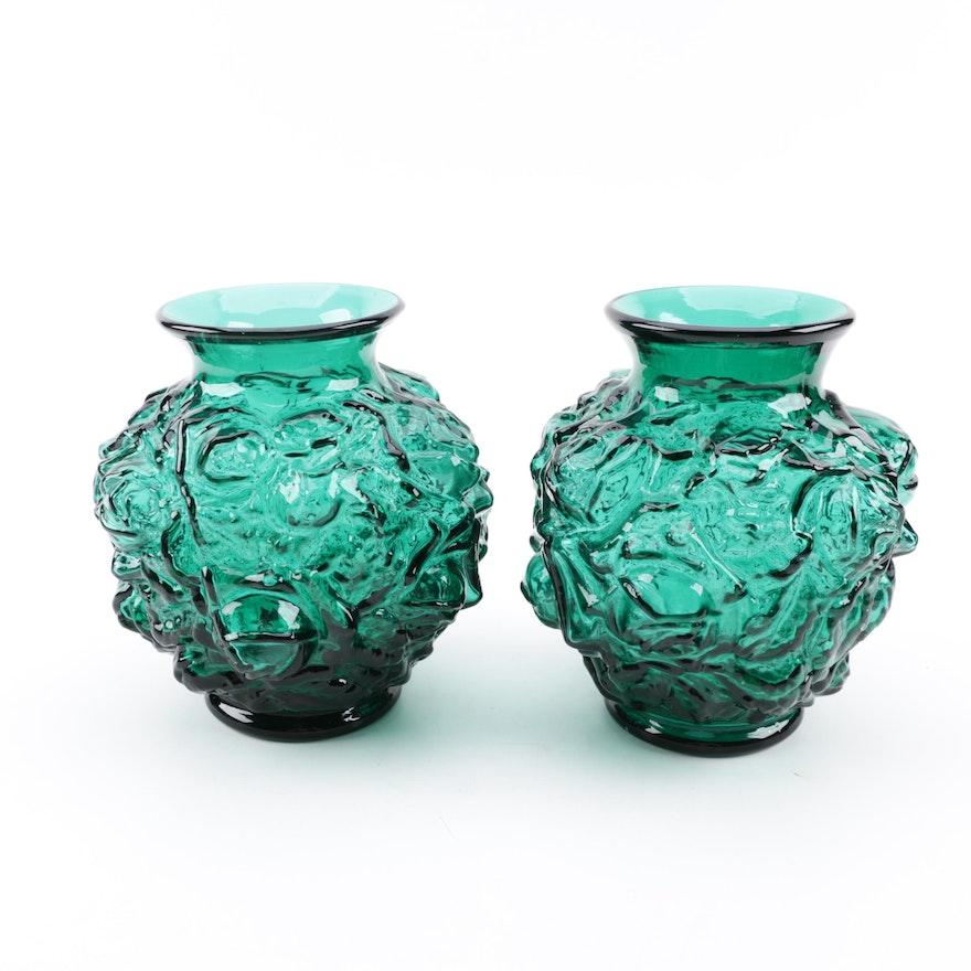 Vintage Imperial Glass Floral Motif Green Glass Vases Ebth