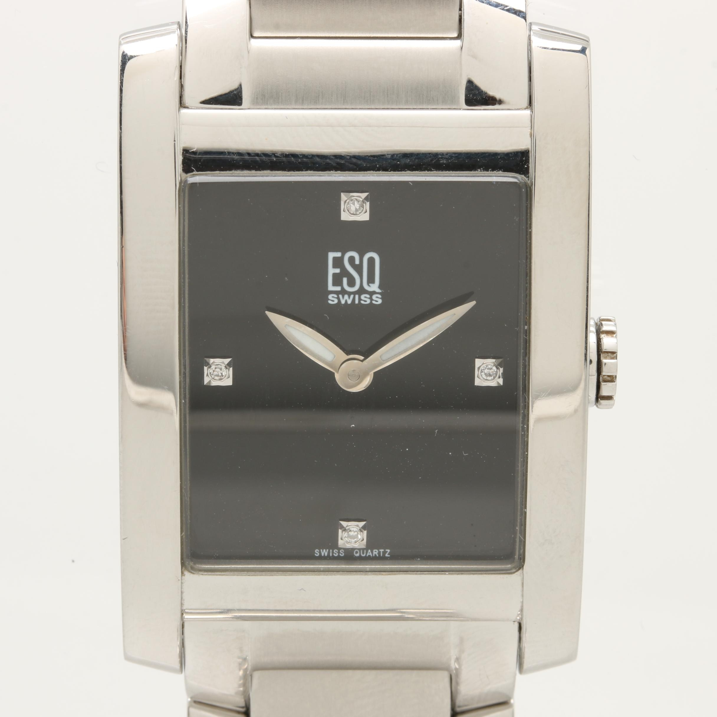 ESQ Stainless Steel Diamond Black Dial Wristwatch
