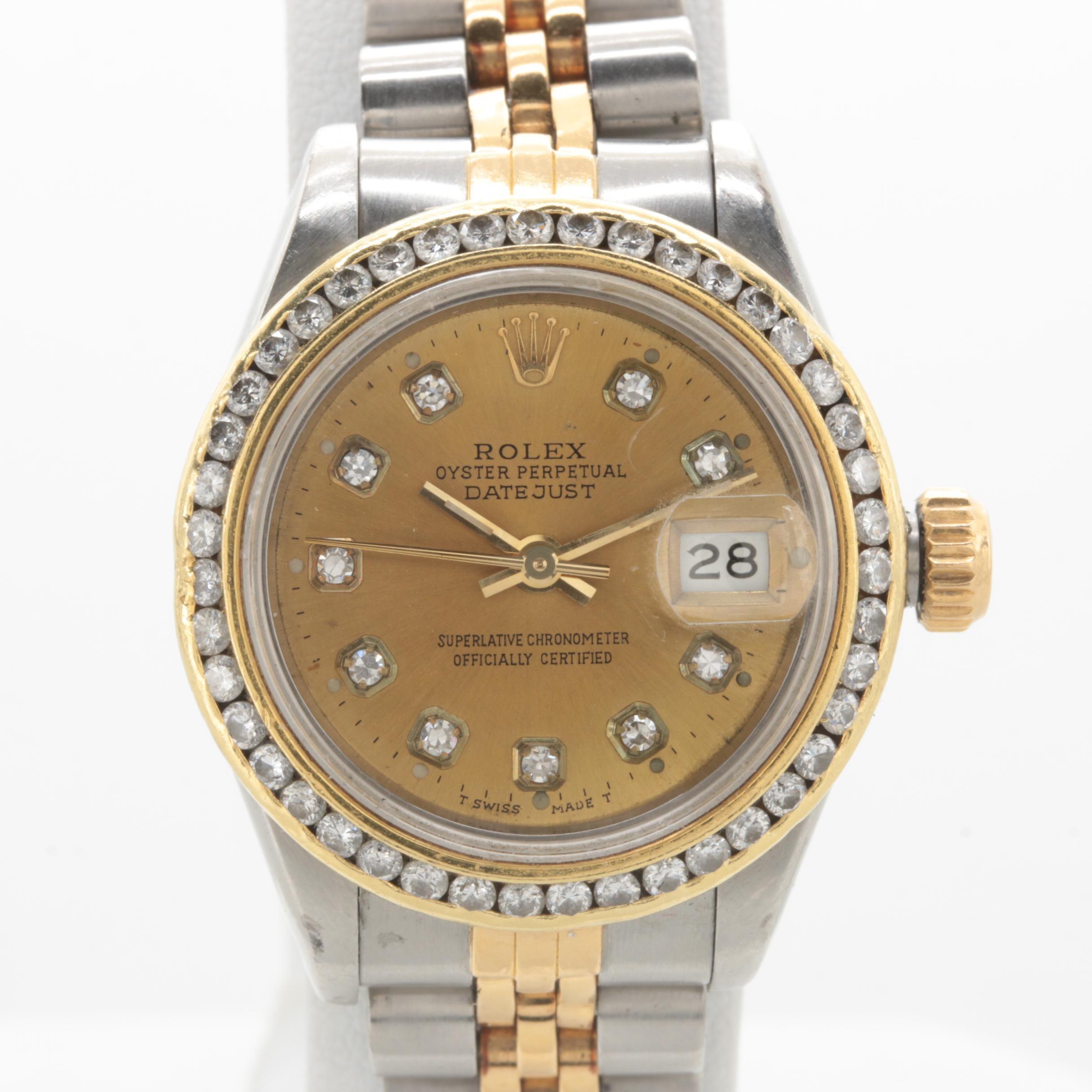 Circa 1987 Rolex Stainless Steel and 18K Yellow Gold 0.96 CTW Diamond Wristwatch