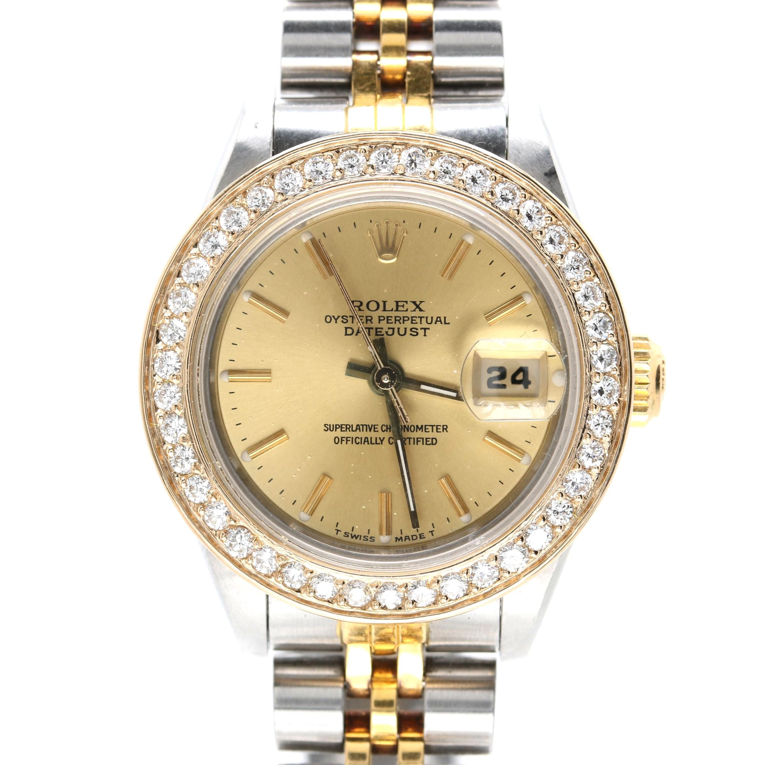 Rolex Datejust Stainless Steel and 18K Yellow Gold Diamond Wristwatch