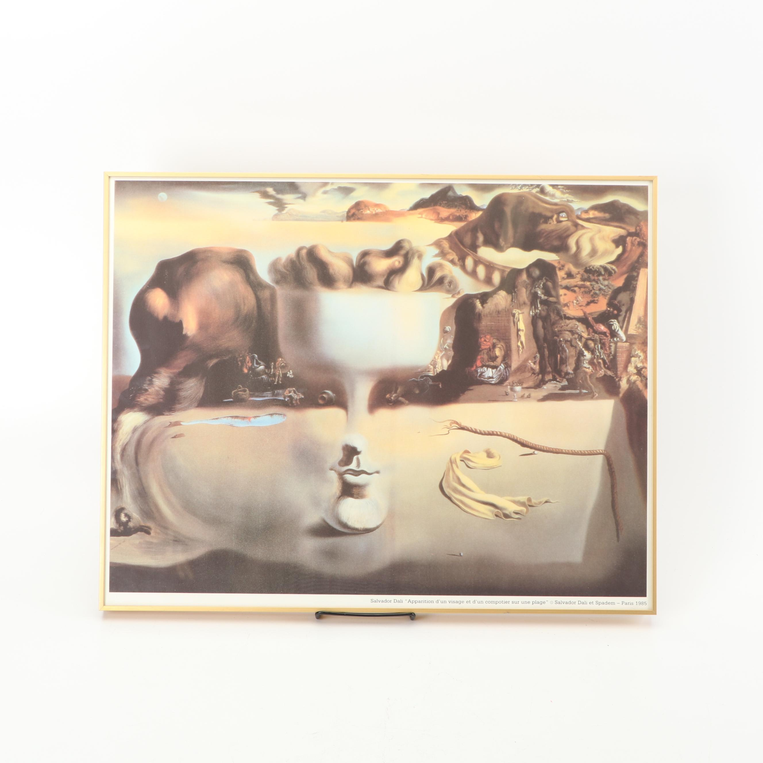 Offset Lithograph After Salvador Dali's ''Apparition of Face and Fruit""