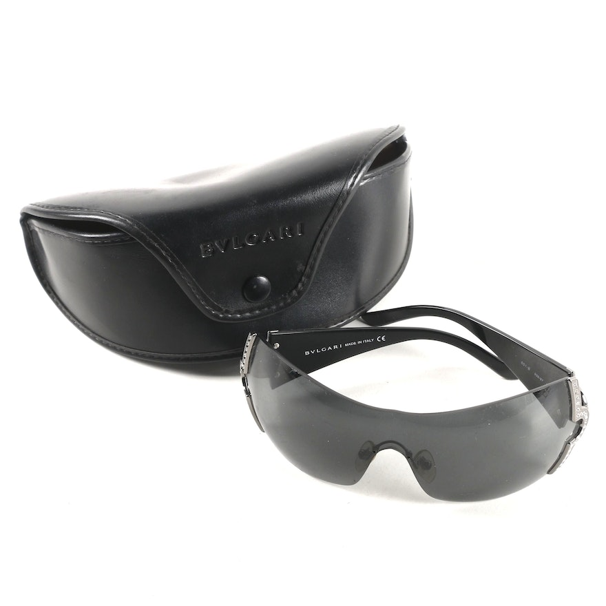 d2891909cc Bulgari Black Shield Sunglasses with Case   EBTH
