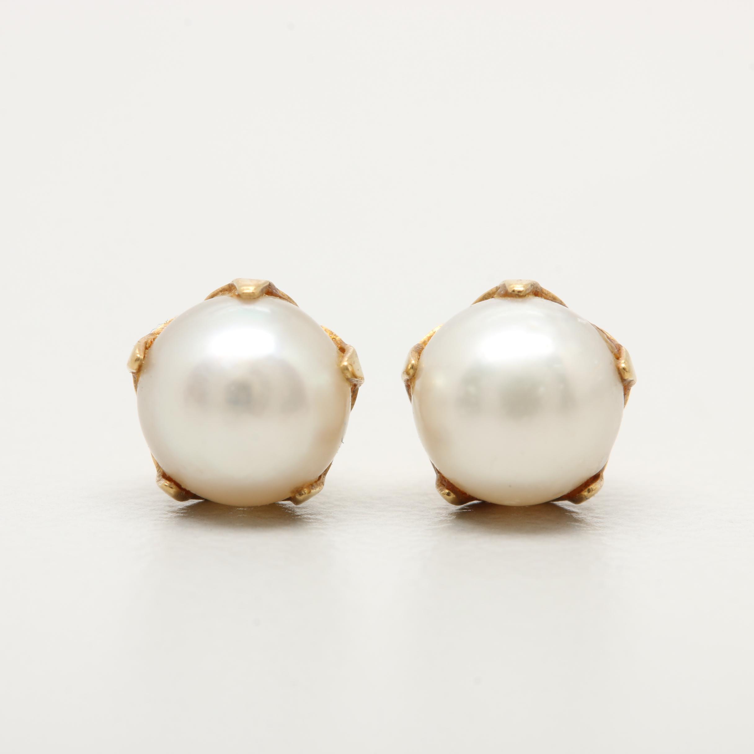 14K Yellow Gold Cultured Pearl Earrings