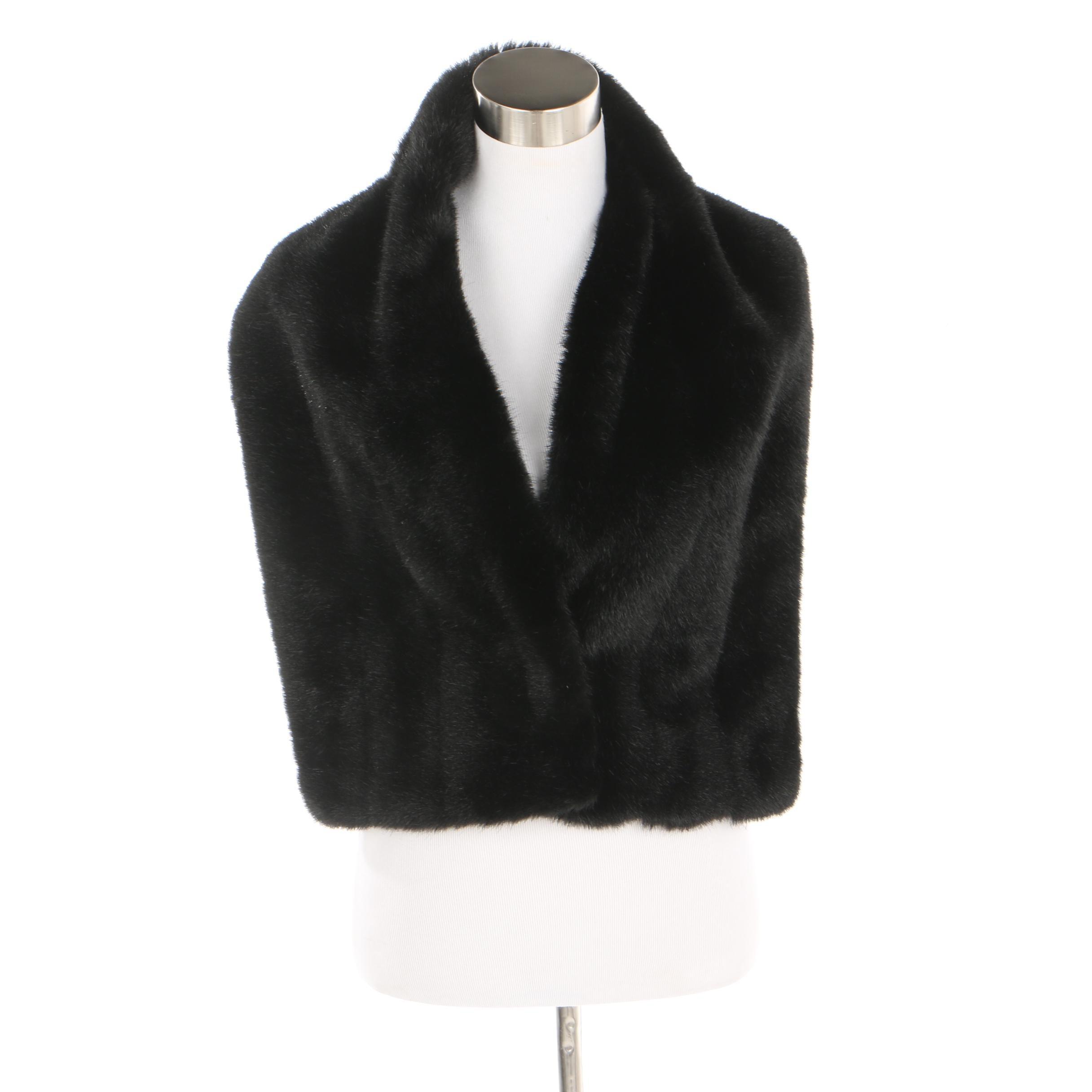 Lord & Taylor Black Faux Mink Fur Wrap