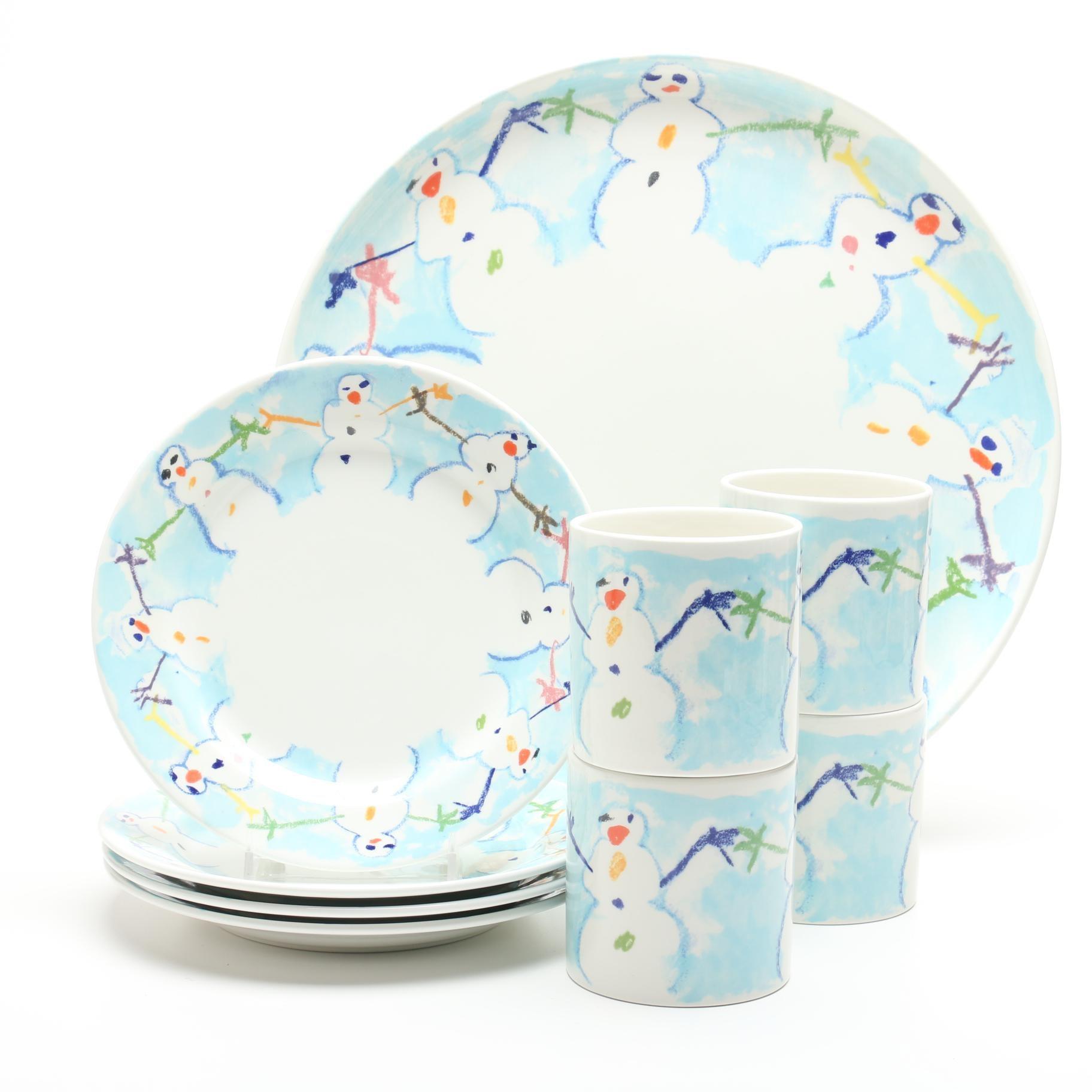 """Tiffany & Co. Este Ceramiche """"Snowman"""" Italian Dessert Set"""