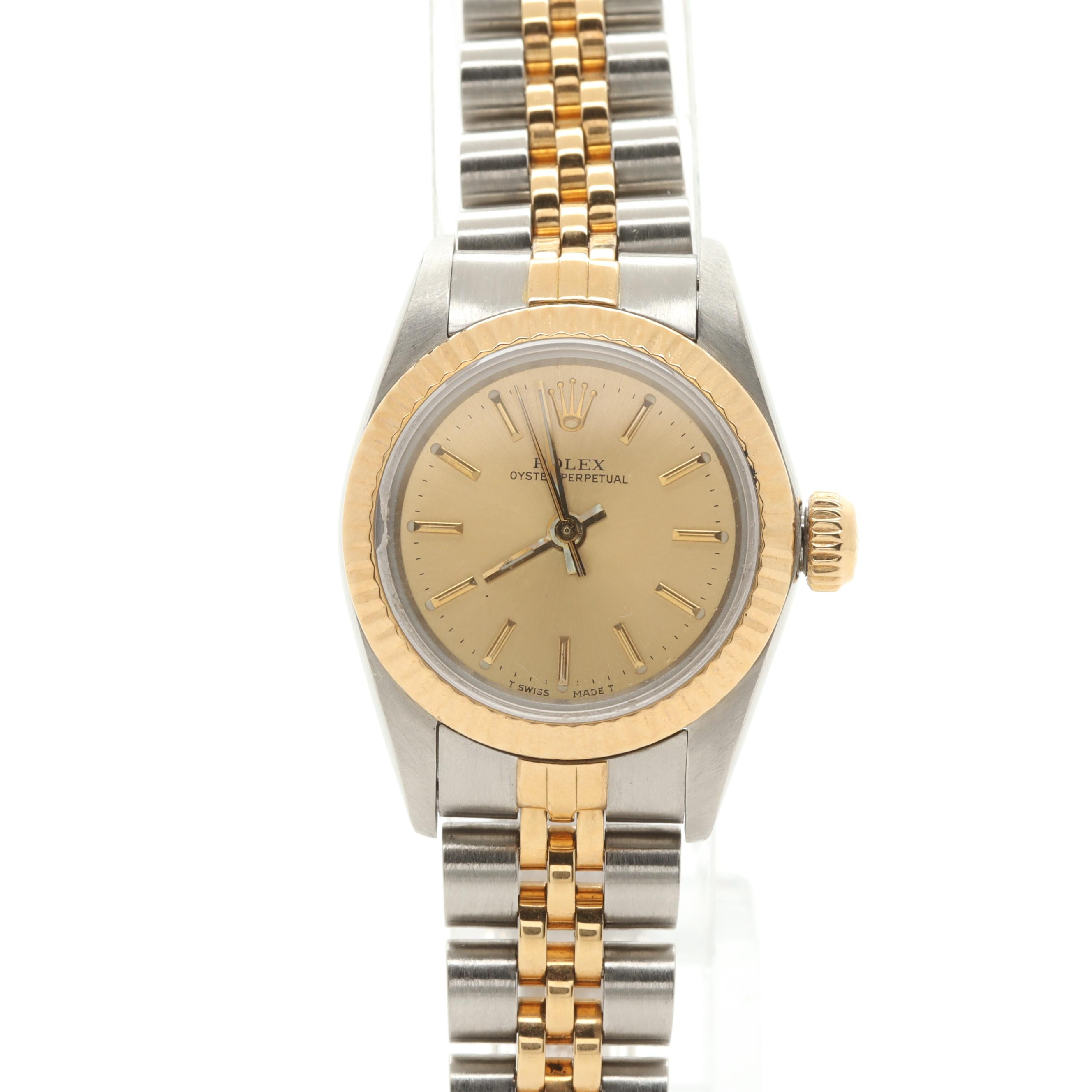 Circa 1988 Rolex 18K Yellow Gold Stainless Two-Tone Oyster Perpetual Wristwatch