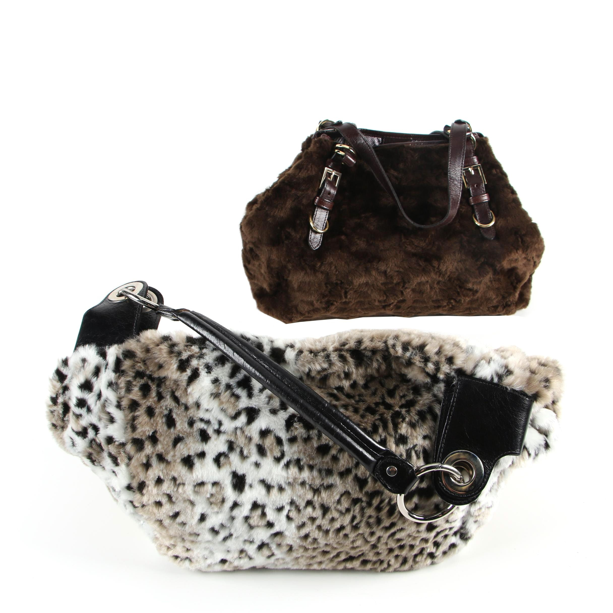 Glenda Gies Faux Fur and Leather Satchels