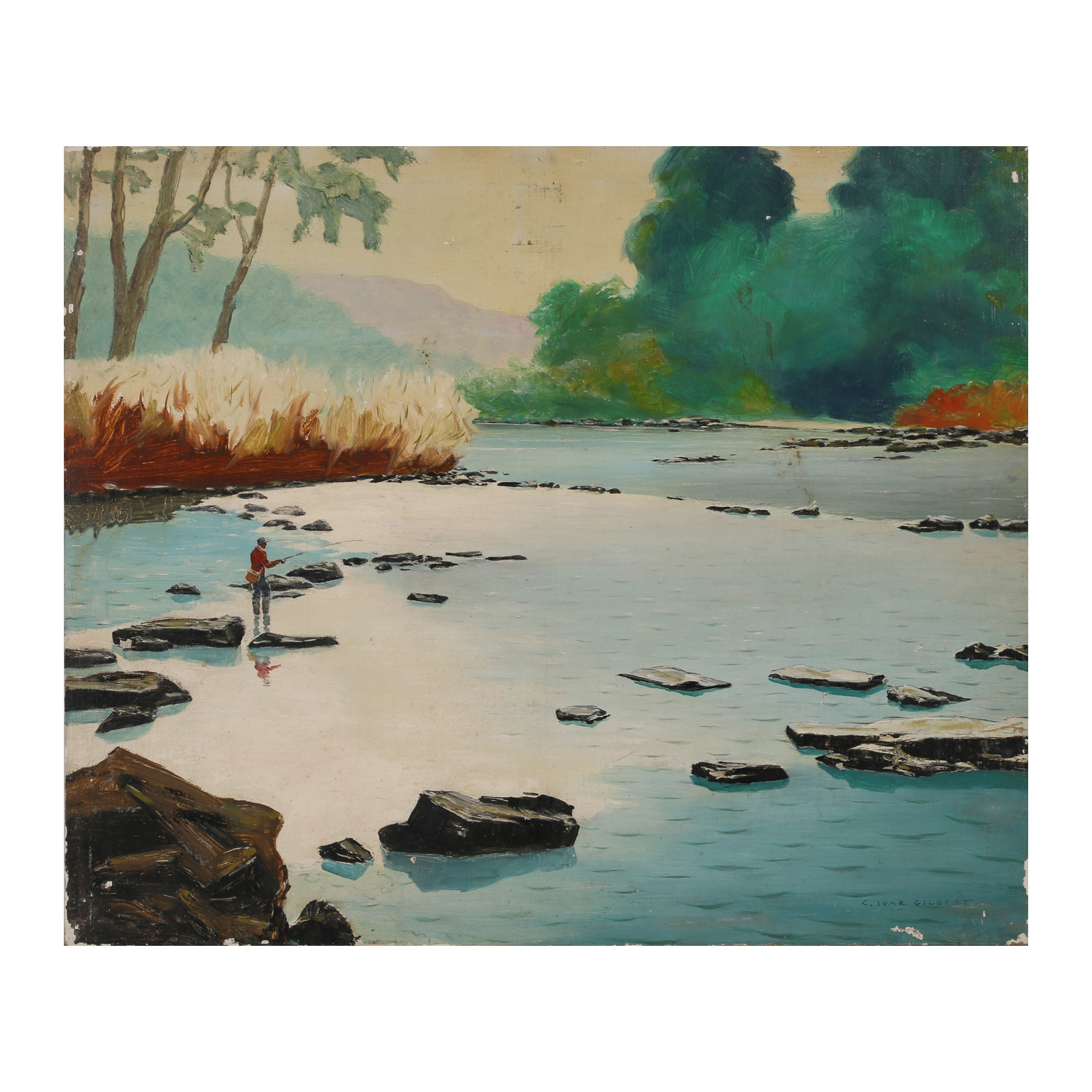 "Carl Ivar Gilbert Oil Painting ""Trout Fishing"""