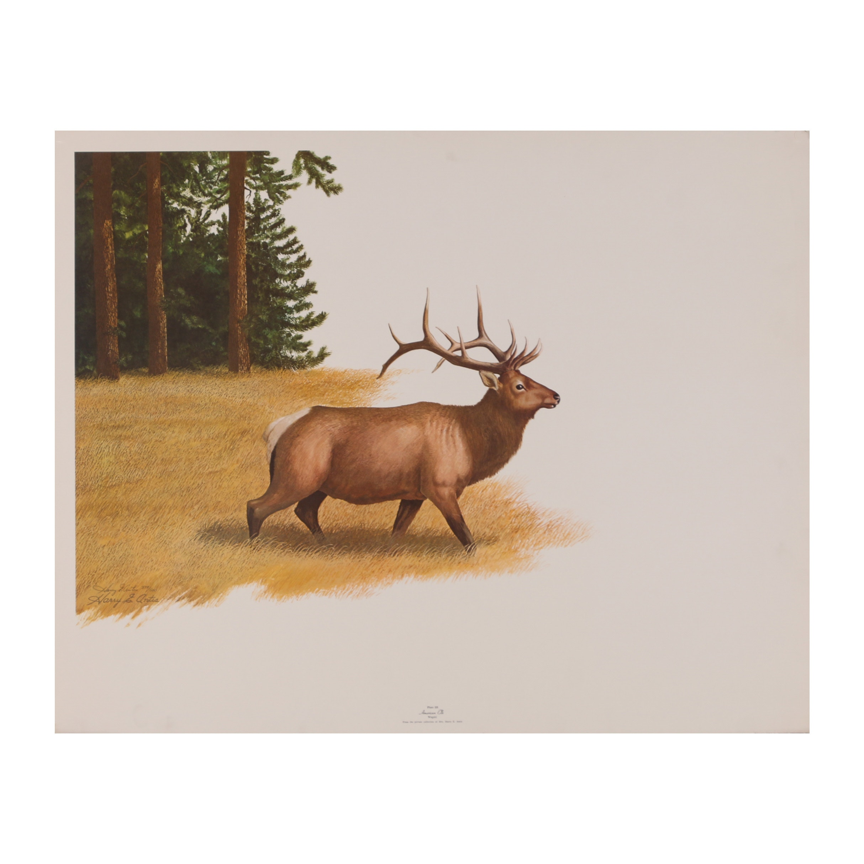 "Harry Antis Offset Lithograph ""American Elk"""