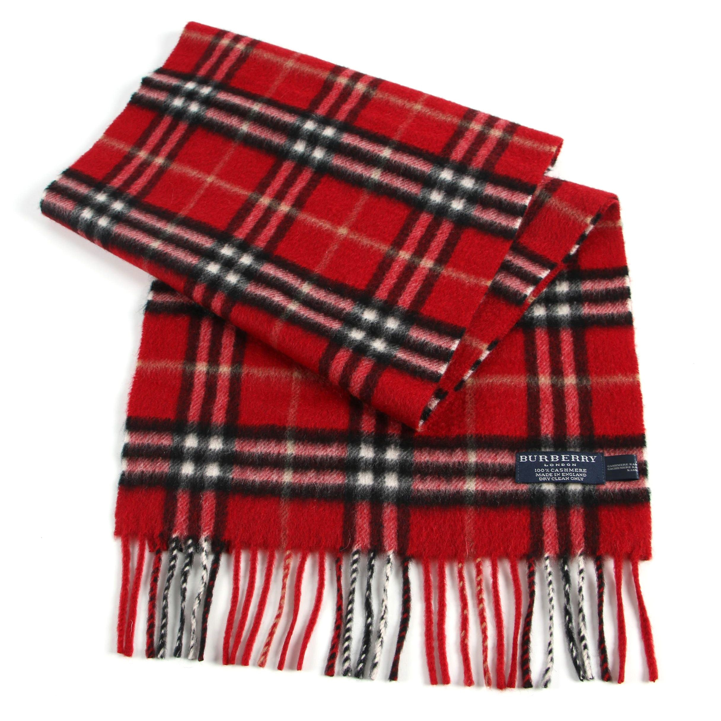Burberry London Red and Black Plaid Cashmere Scarf
