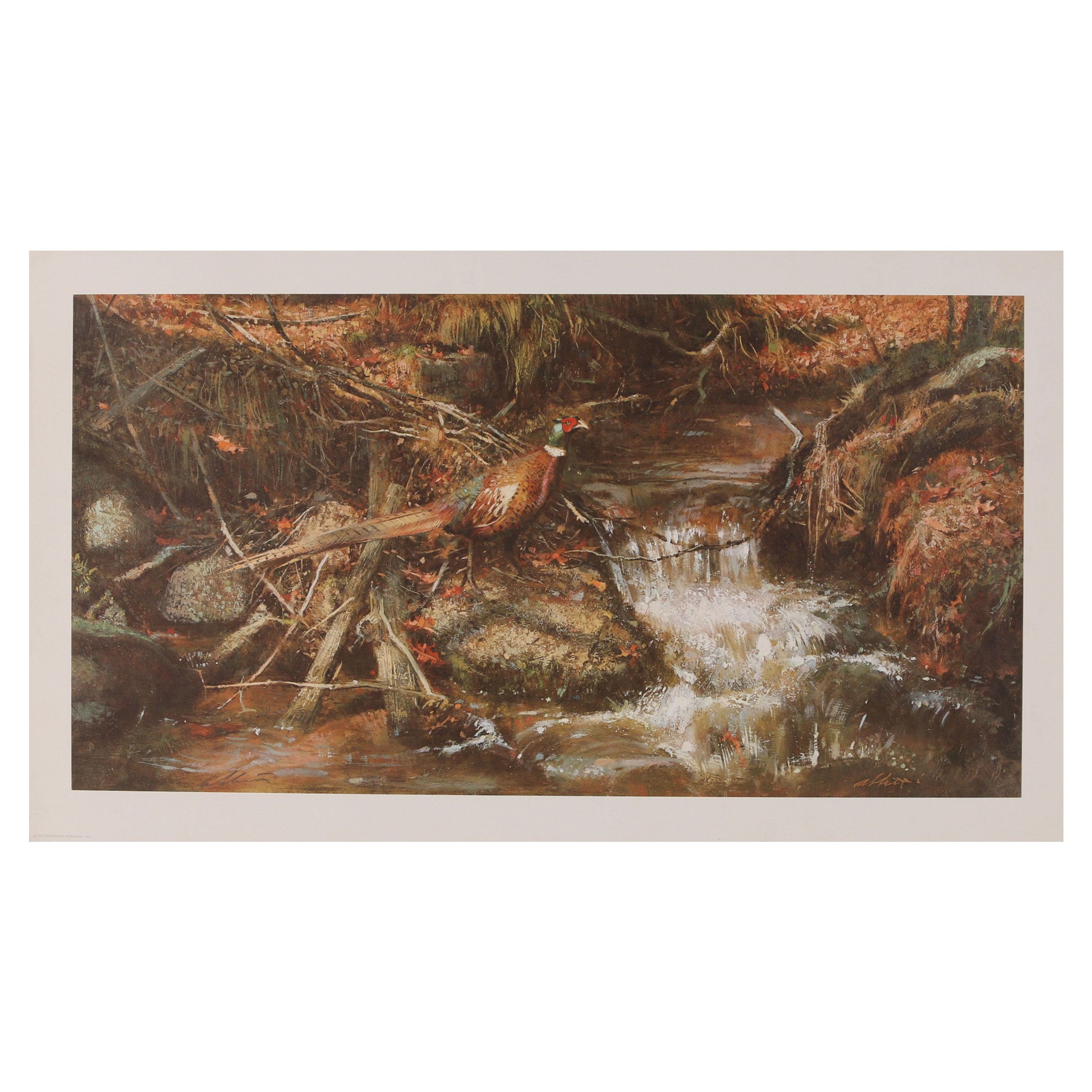 "Robert Abbett Offset Lithograph ""The Brook in October"""
