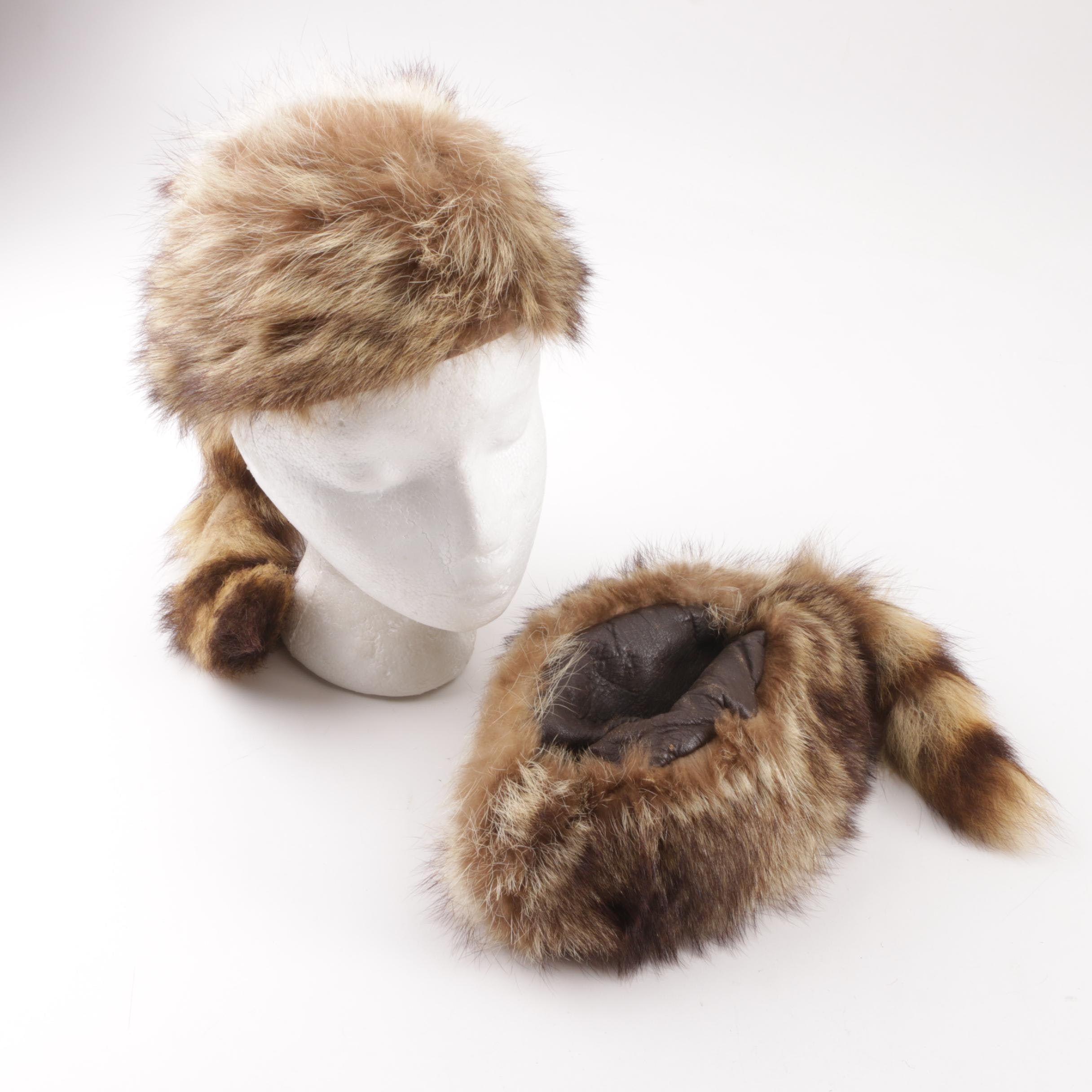 Vintage Raccoon Fur Hats with Tails