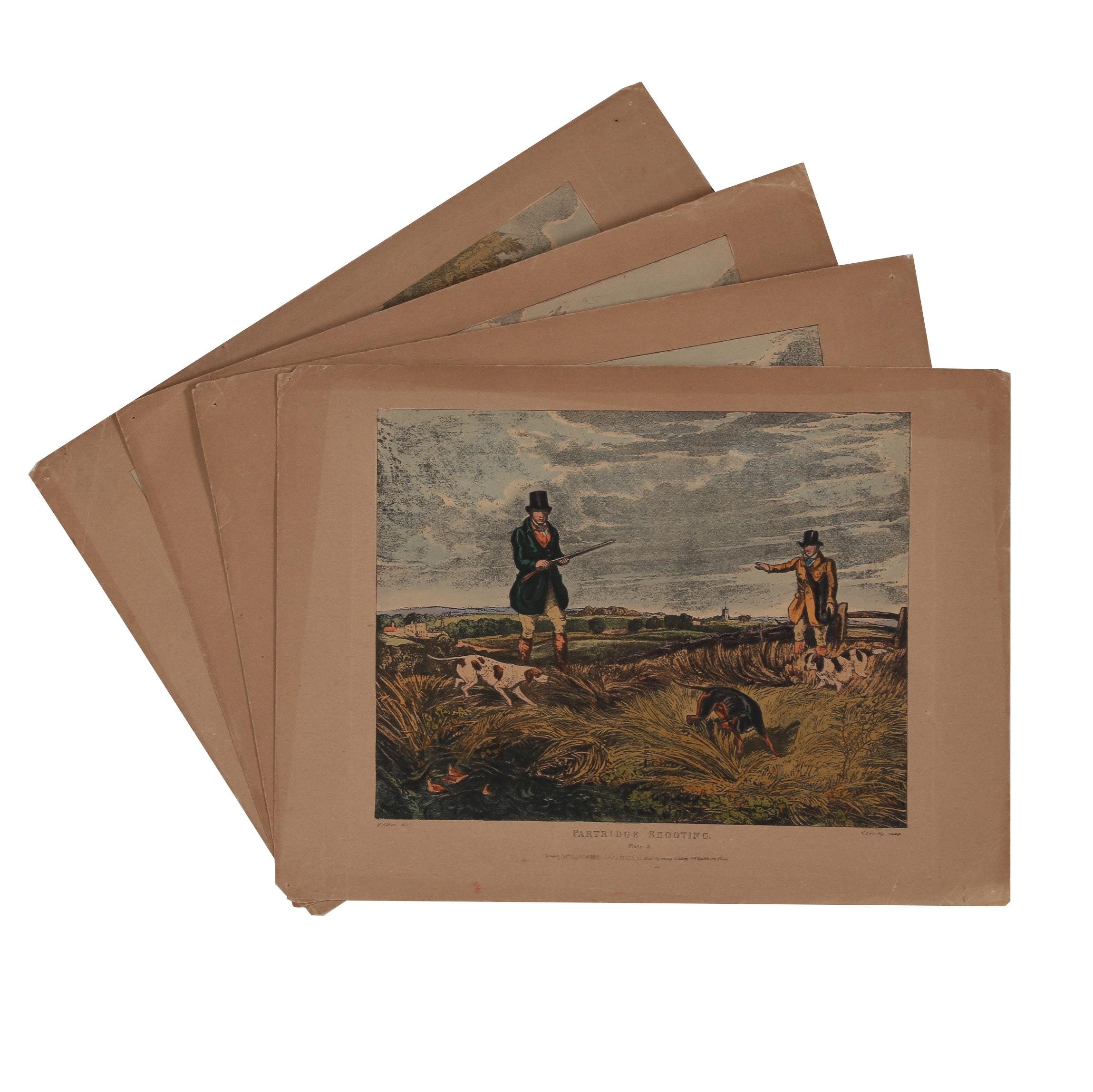 "Hand-Colored Wood Engravings after Charles Bentley ""Partridge Shooting"""