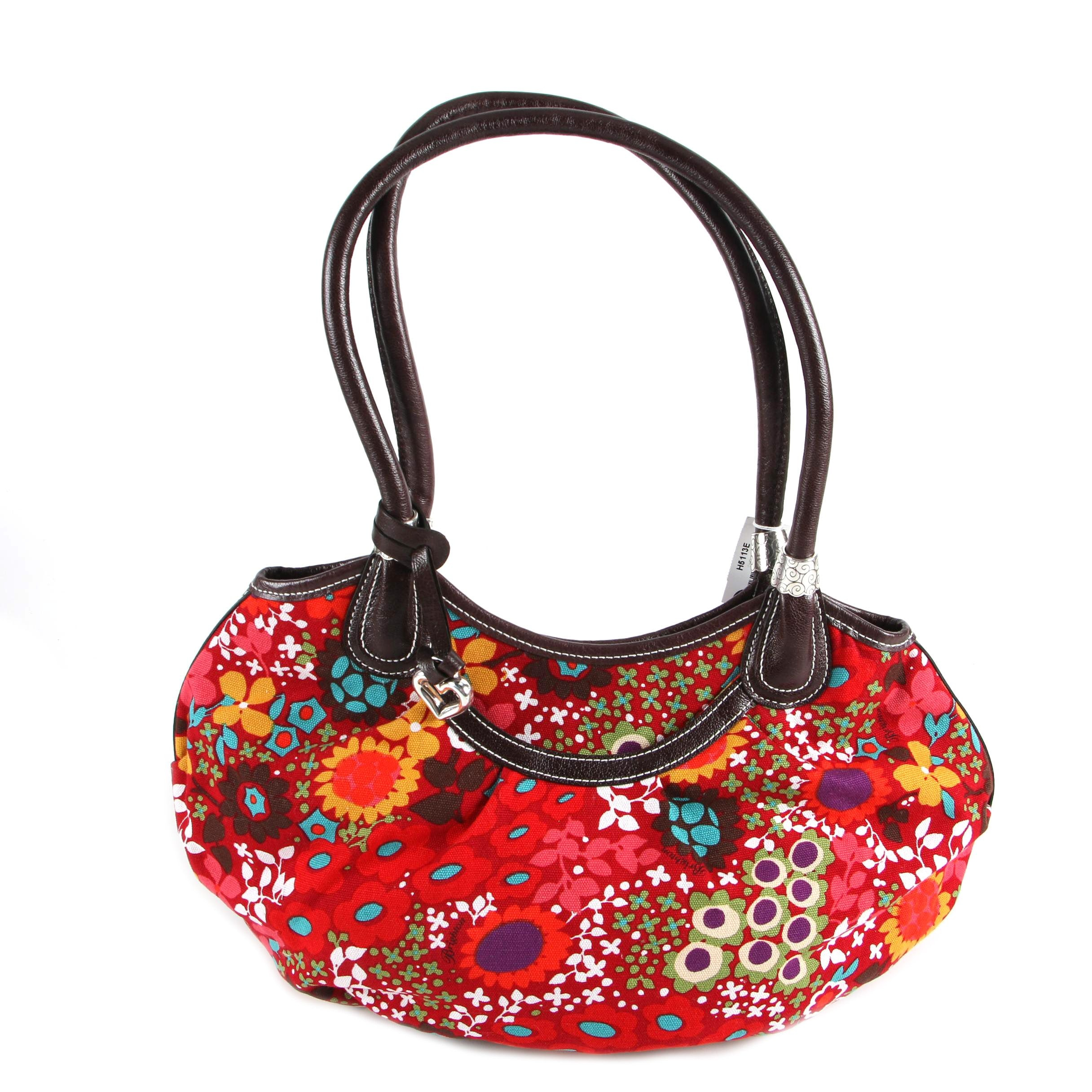 Brighton Floral Print Canvas and Leather Satchel