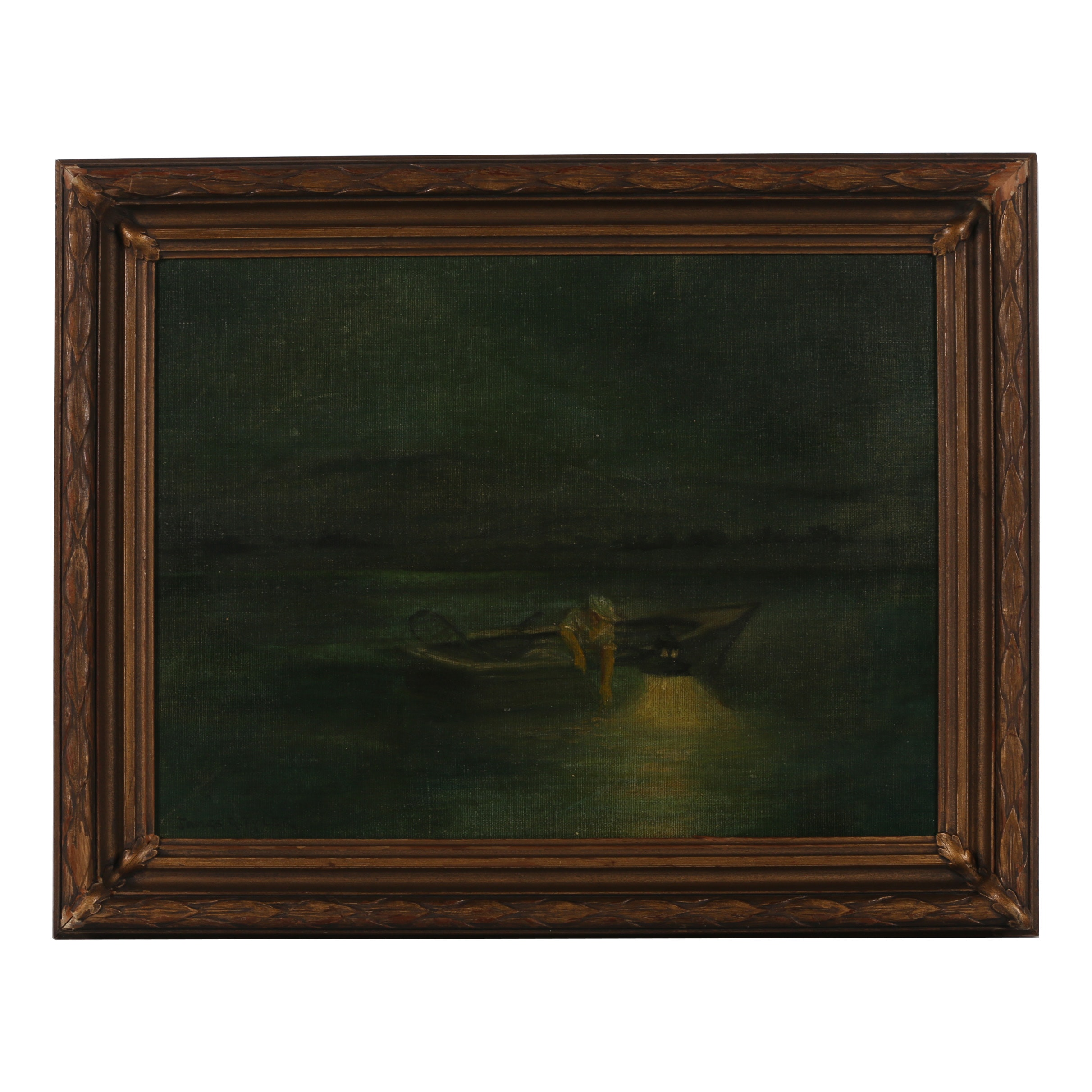 "James Gale Tyler Oil Painting ""Night Fishing"""