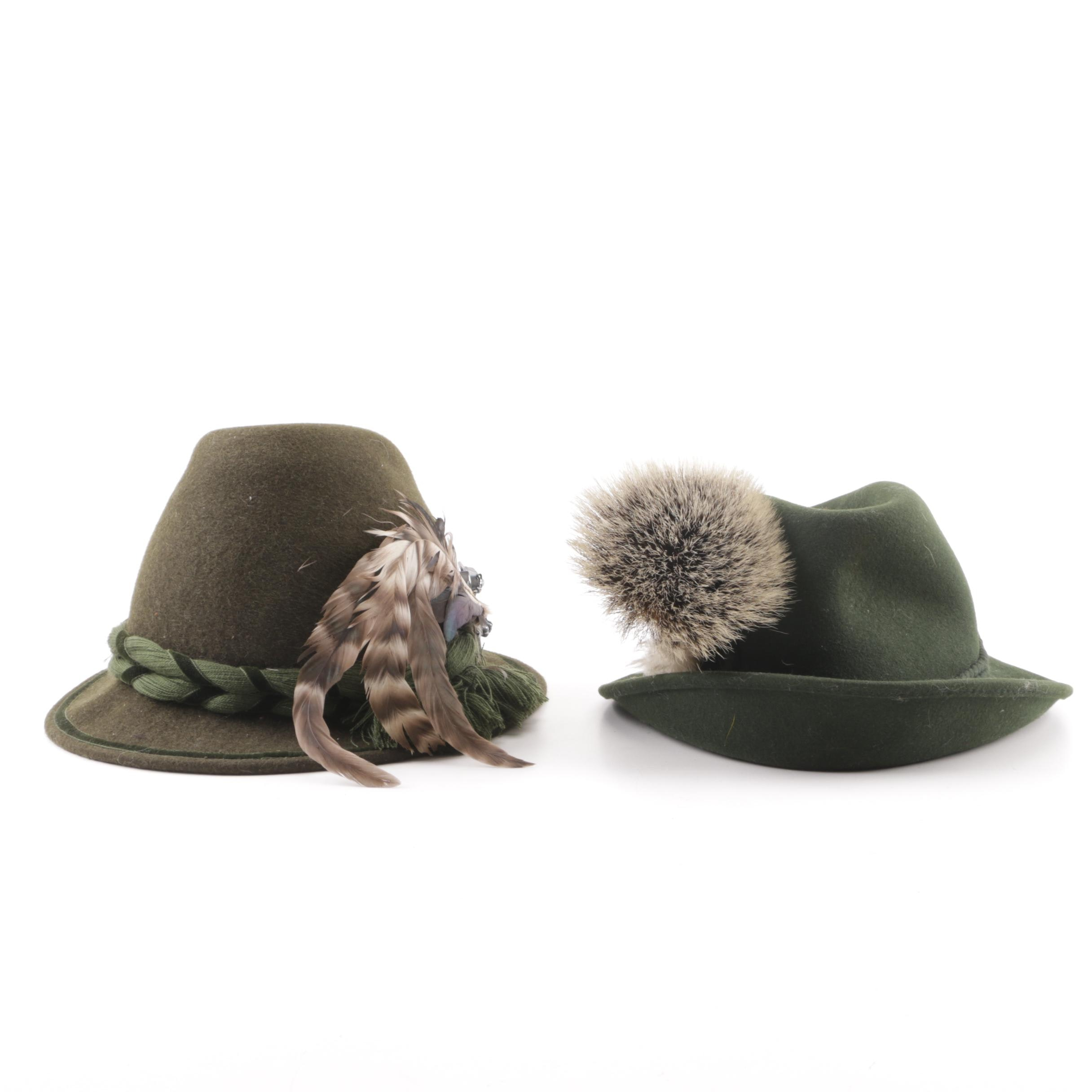 Vintage Austrian Green Felt Tyrolean Hats with Embellishments