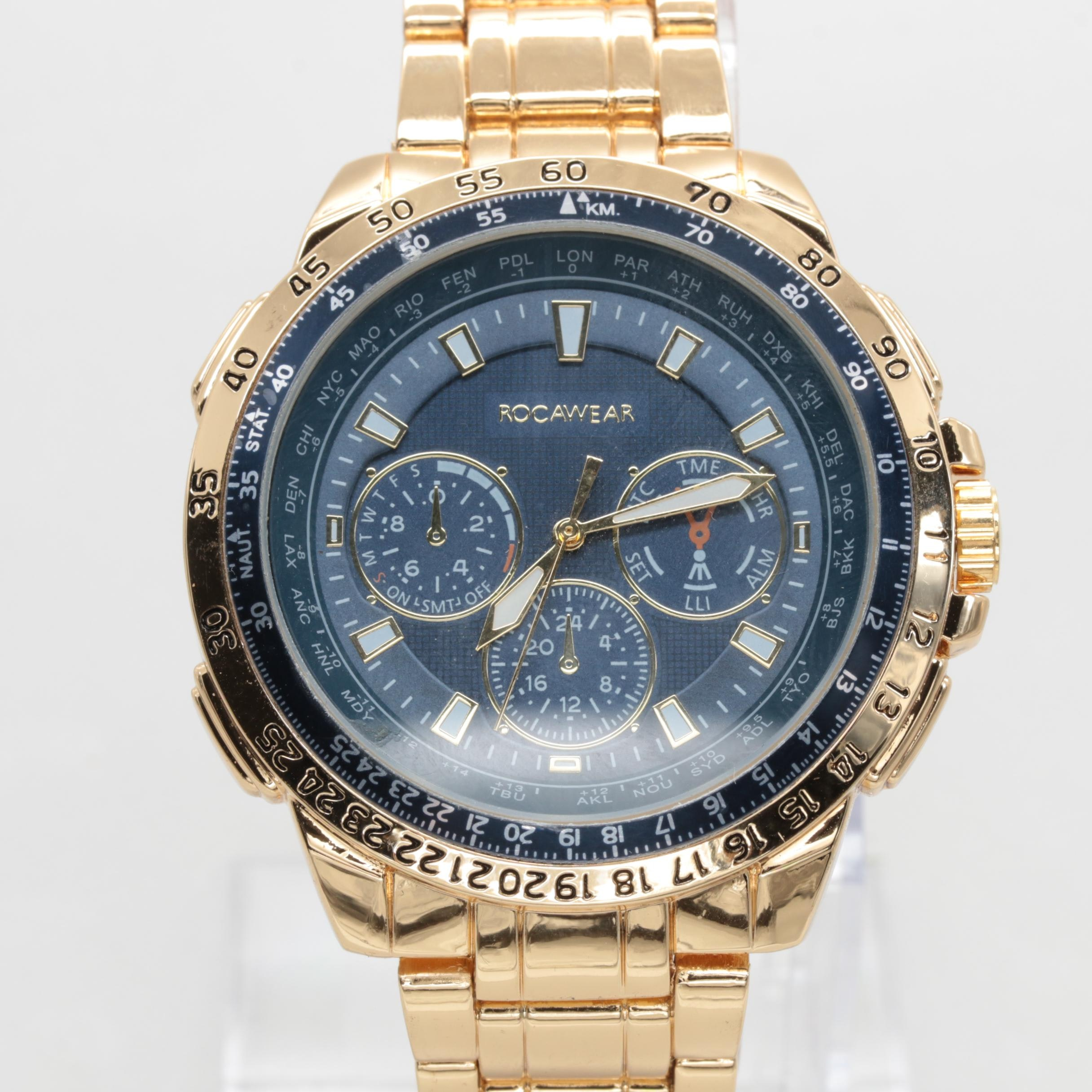 Rocawear Gold Tone Stainless Steel Wristwatch with Tachymeter