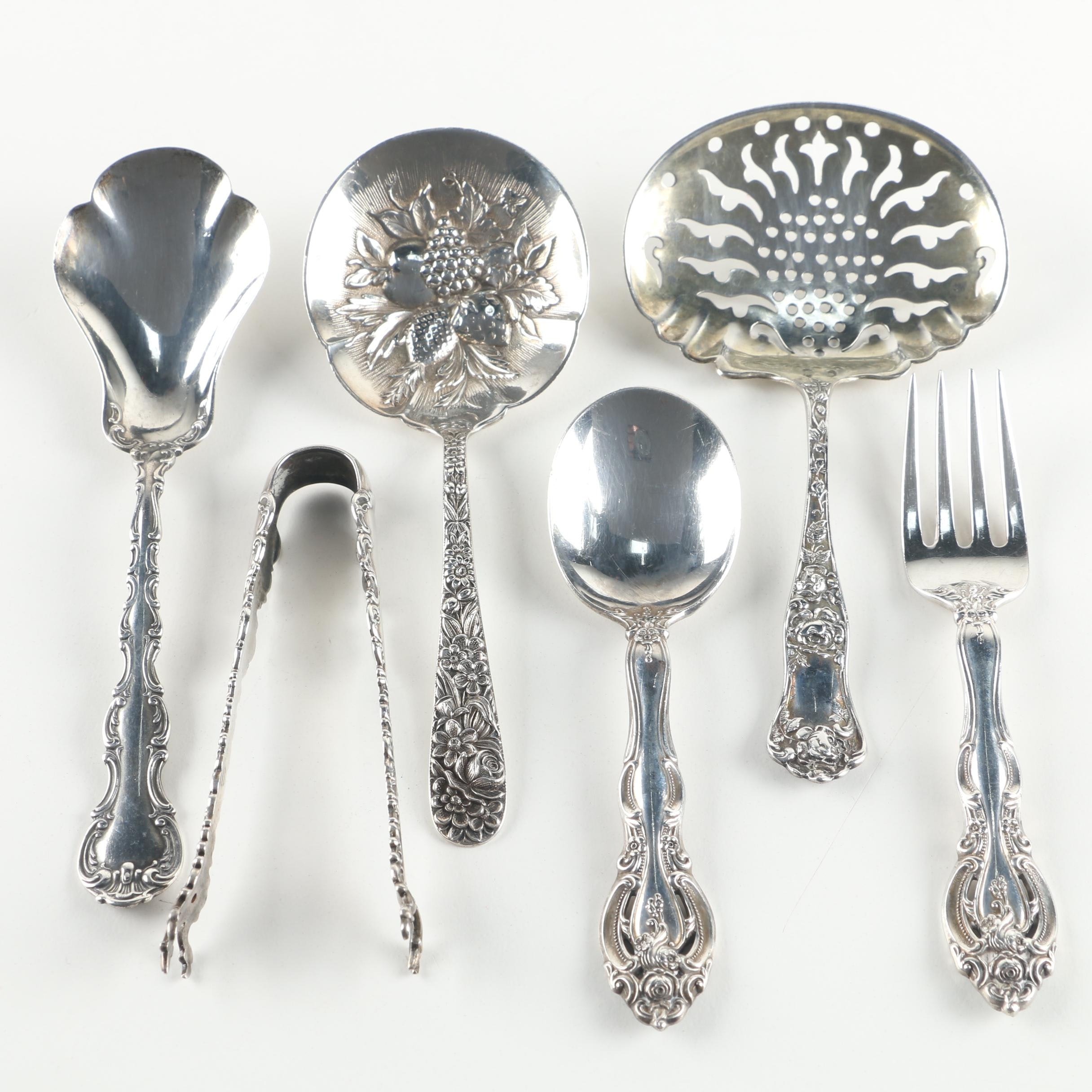 S. Kirk & Son Berry Spoon with Other Sterling Flatware and Serving Utensils