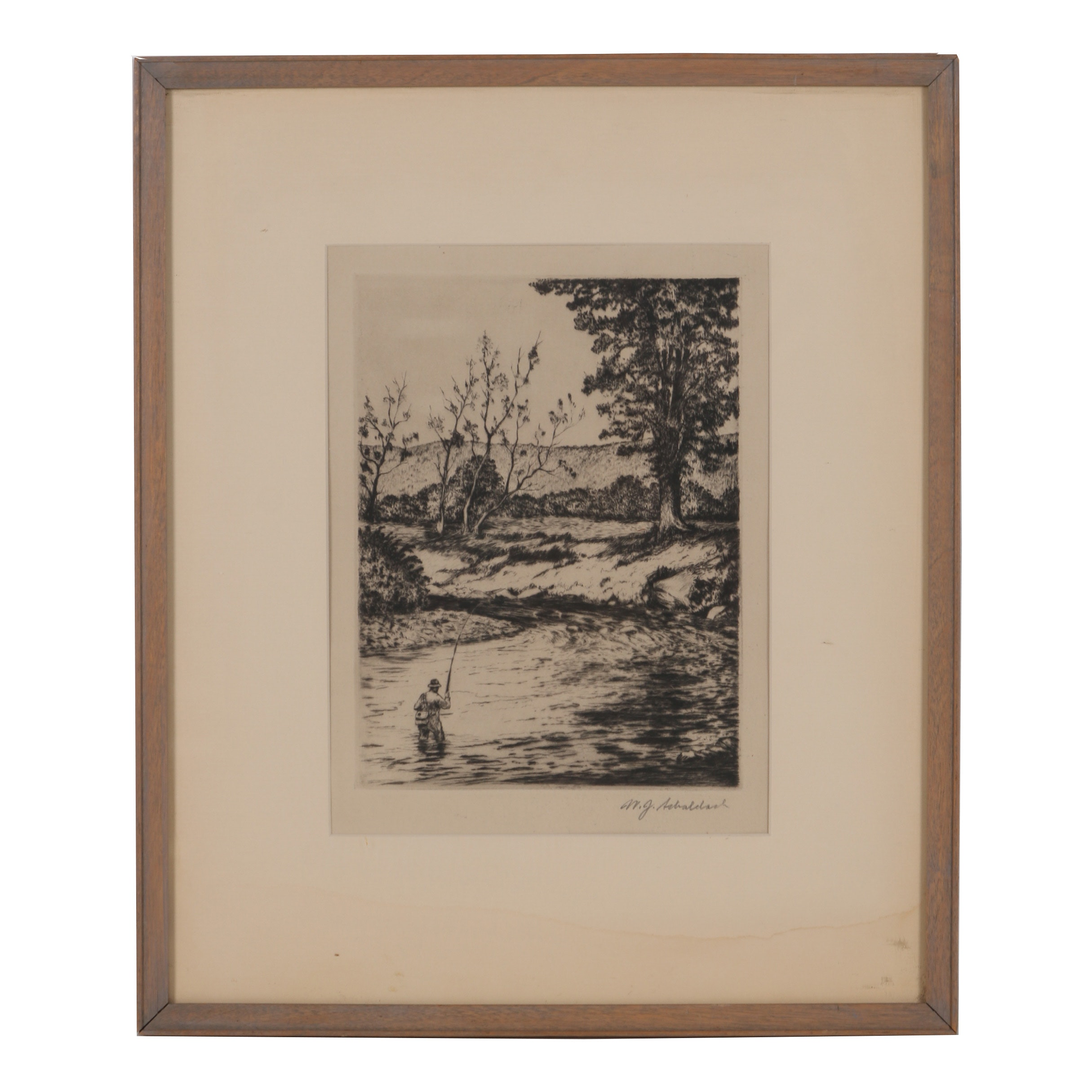 "William J. Schaldach Etching with Drypoint ""Dry Fly Water, Beaverkill"""