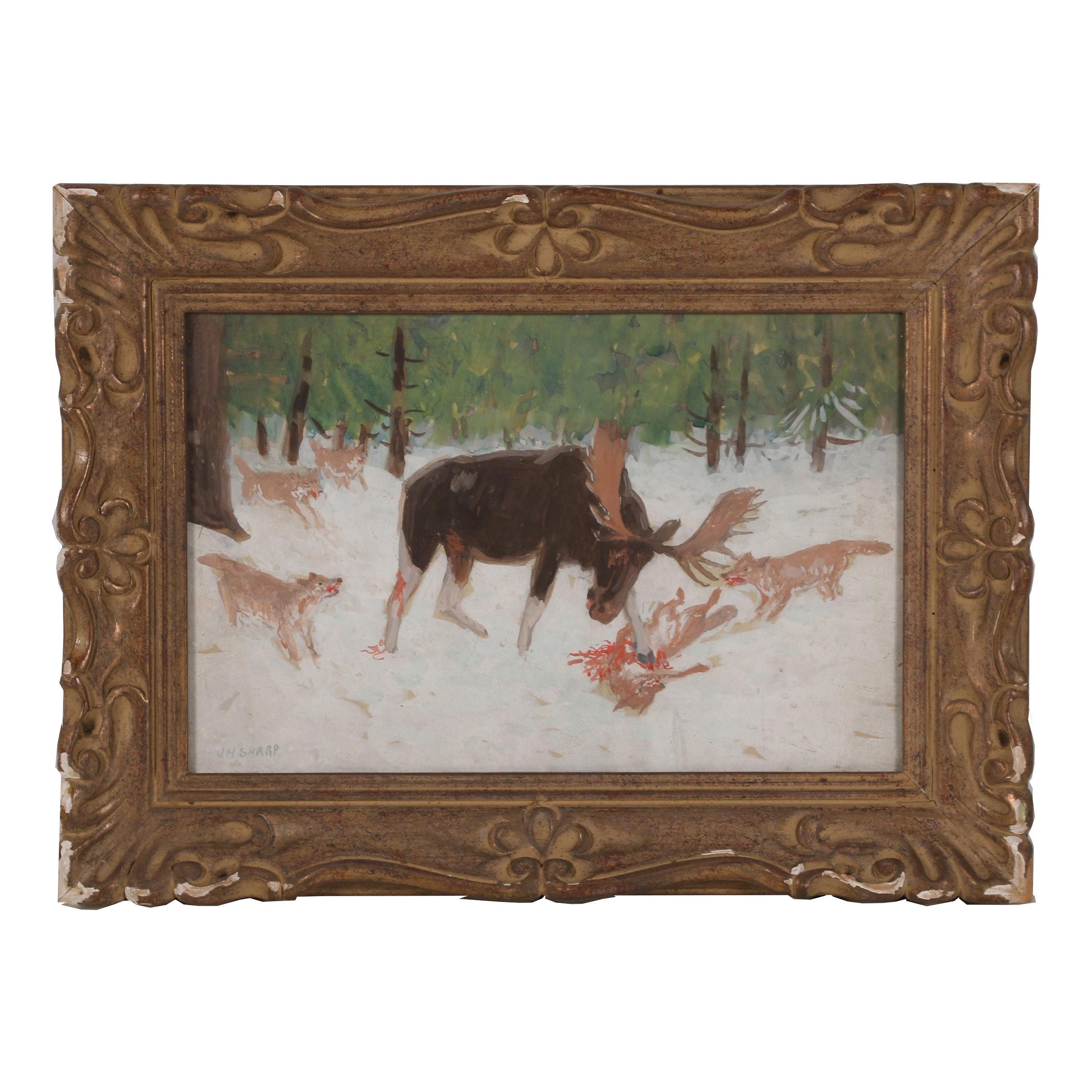 Gouache Painting in the Manner of Joseph Henry Sharp