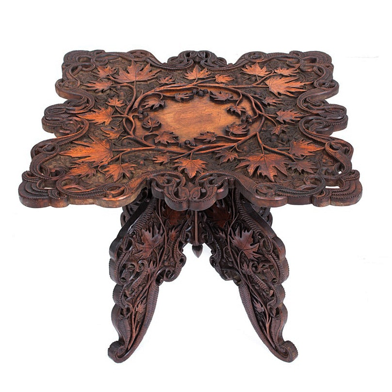 German Black Forest Walnut Folding Side Table, Late 19th Century