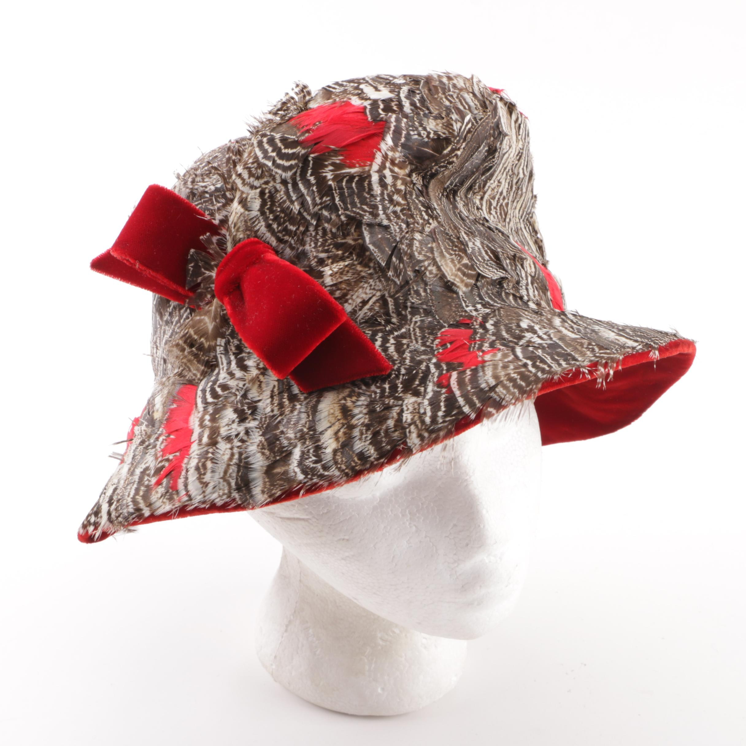Women's Vintage Jack McConnell of New York Chicken Feather Red Velvet Cloche