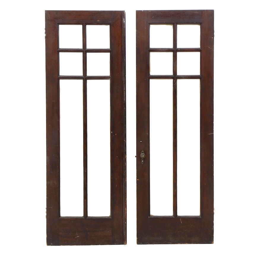 Antique French Style Glass Pane Wood Doors Ebth