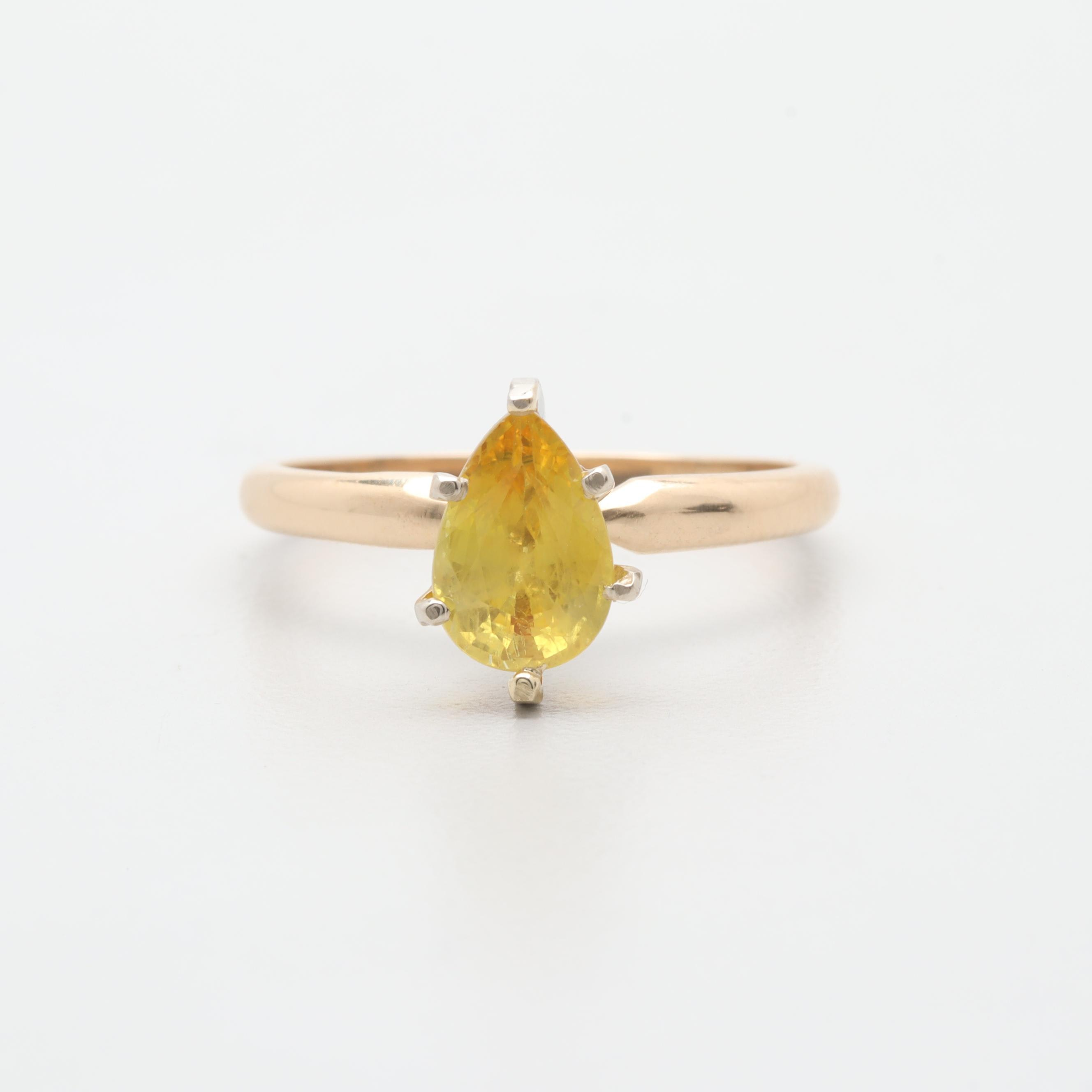 14K Yellow Gold Yellow Sapphire Solitaire Ring