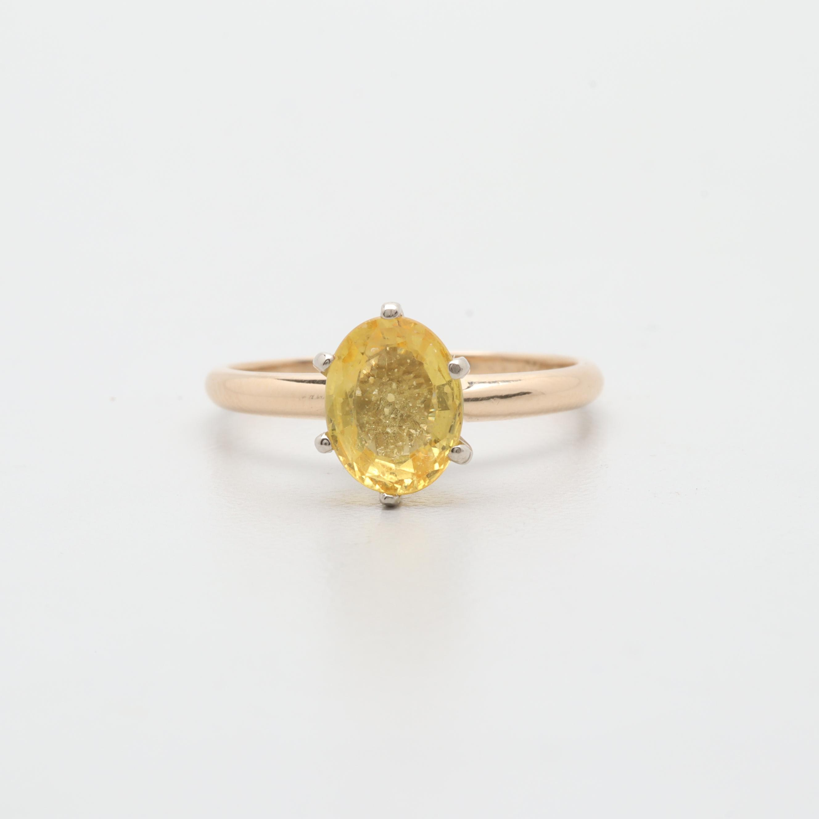 14K Yellow Gold 1.02 CT Yellow Sapphire Solitaire Ring