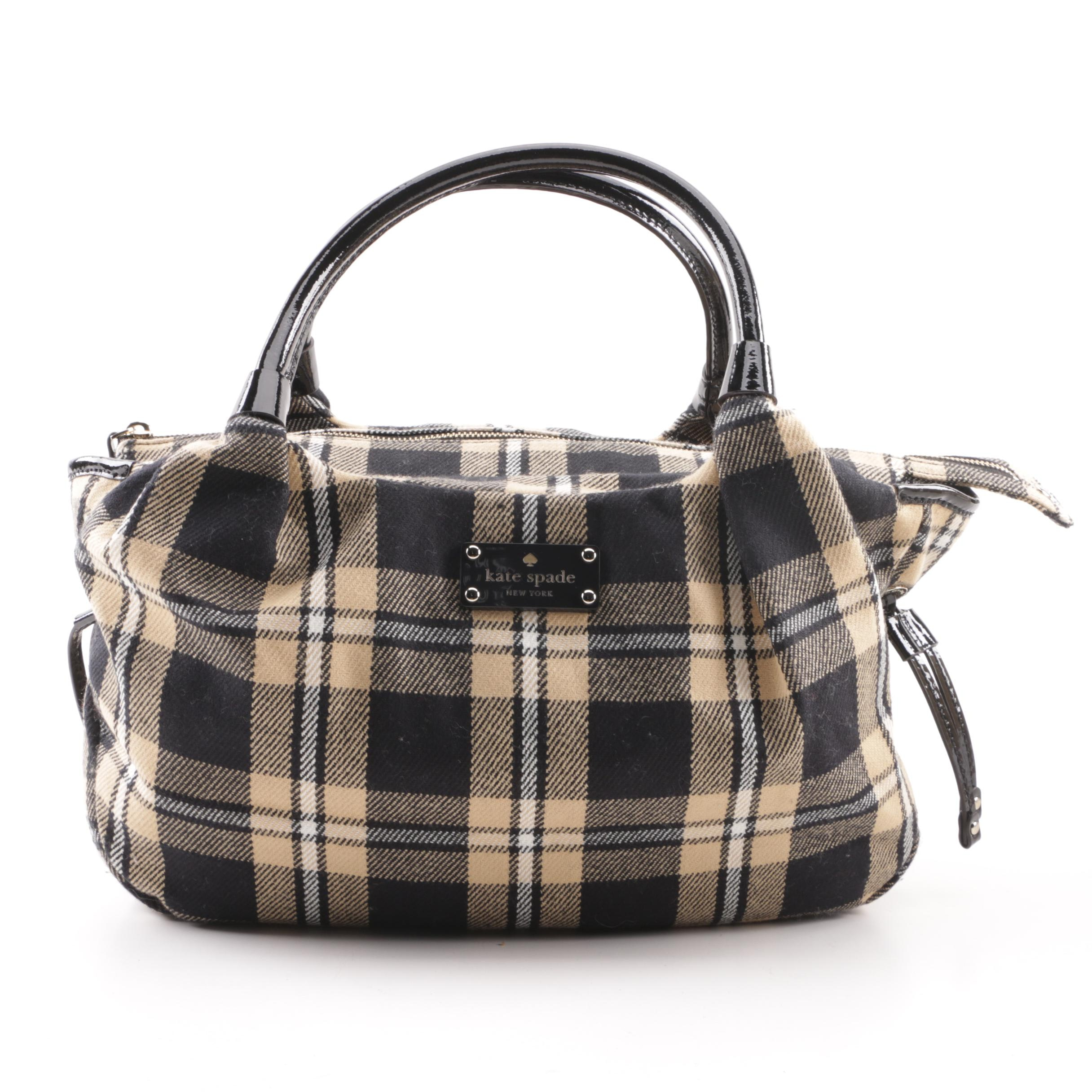 Kate Spade New York Plaid Fabric and Patent Leather Handbag Tote