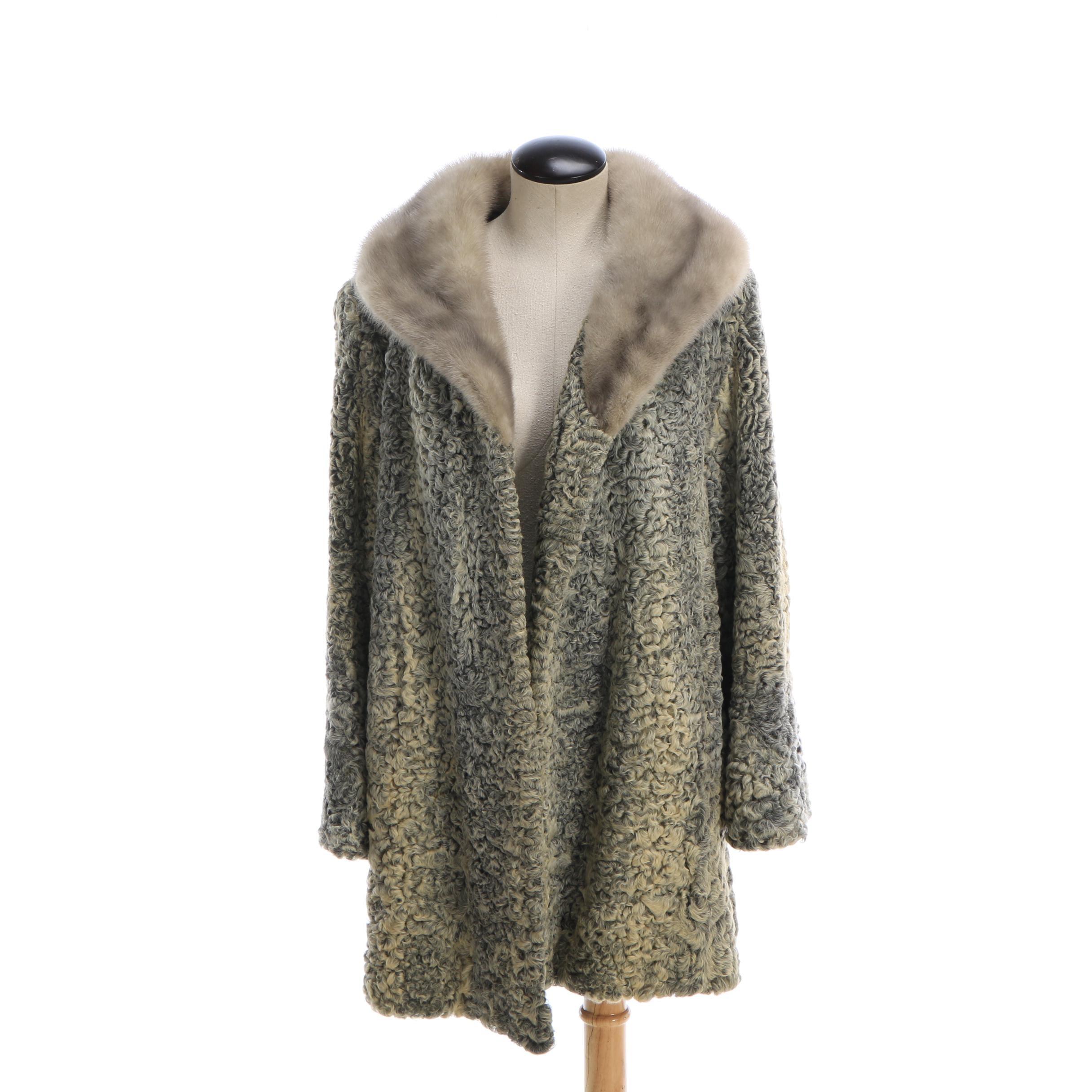 Women's Vintage Persian Lamb Fur Stroller Coat with Mink Fur Collar