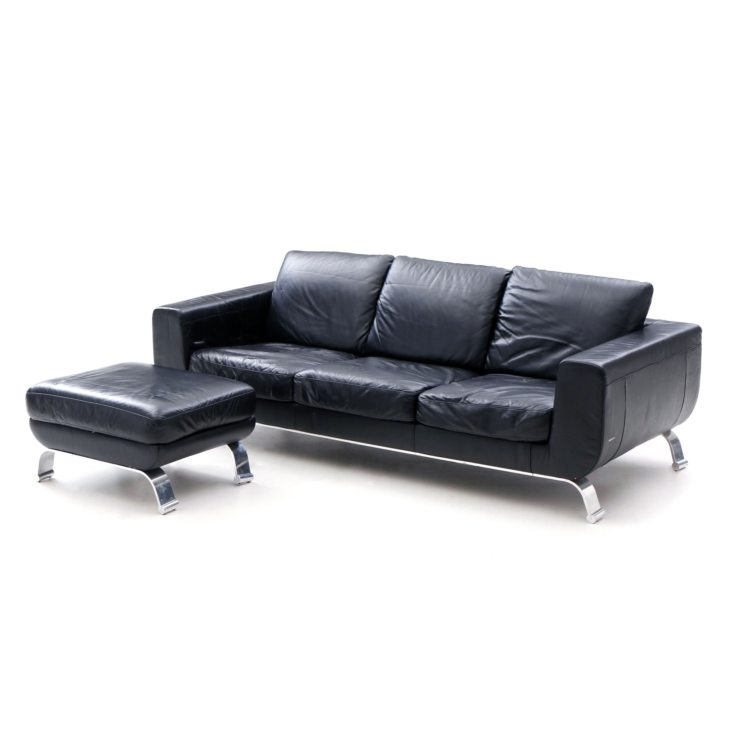 Contemporary Italian Black Leather Sofa by Natuzzi
