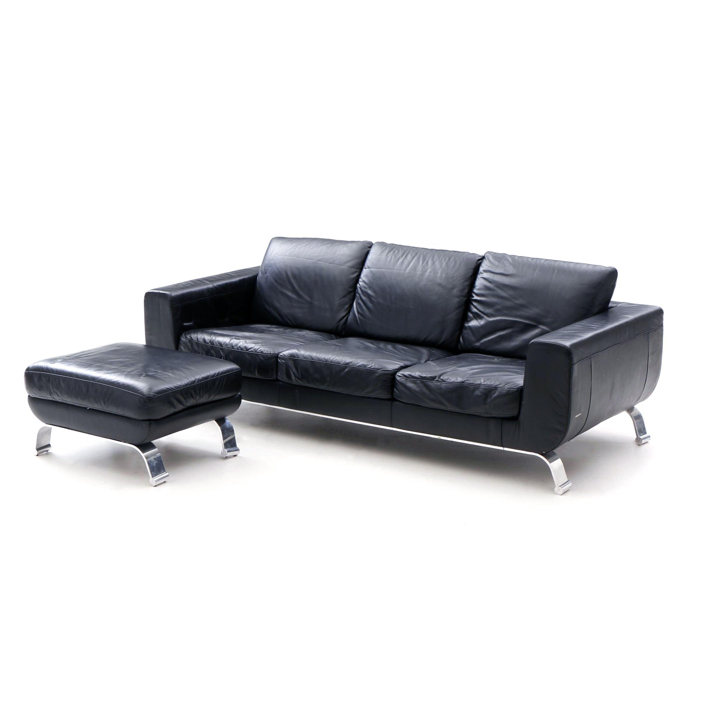 Contemporary Italian Black Leather Sofa by Natuzzi