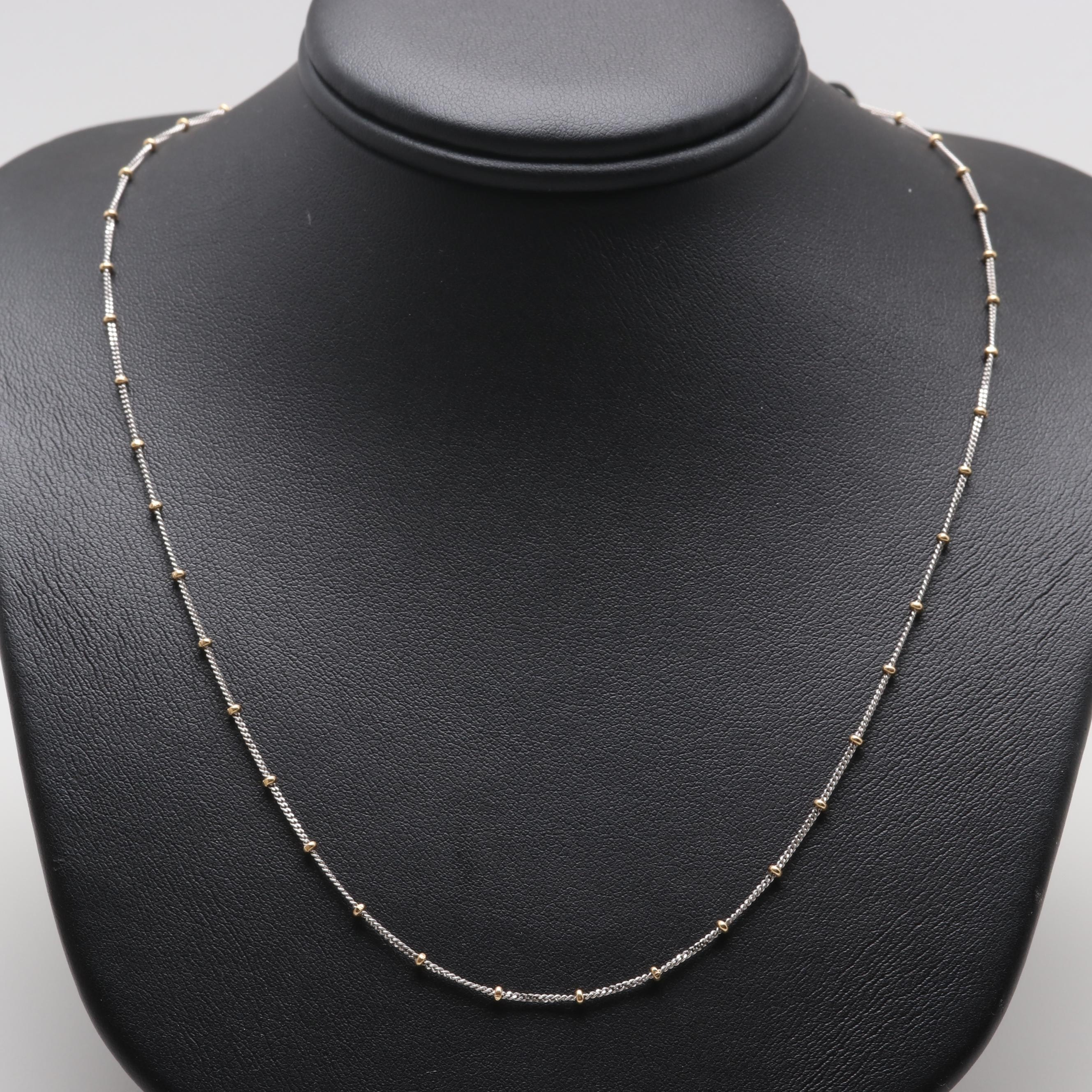 14K Two Tone Gold Beaded Necklace