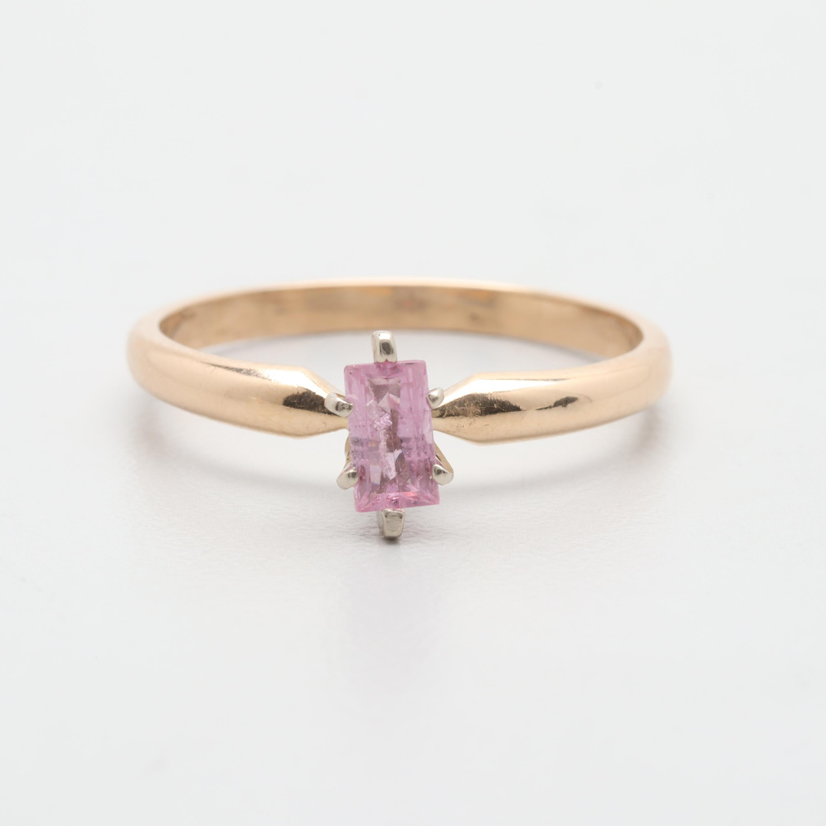 14K Yellow Gold Pink Sapphire Ring