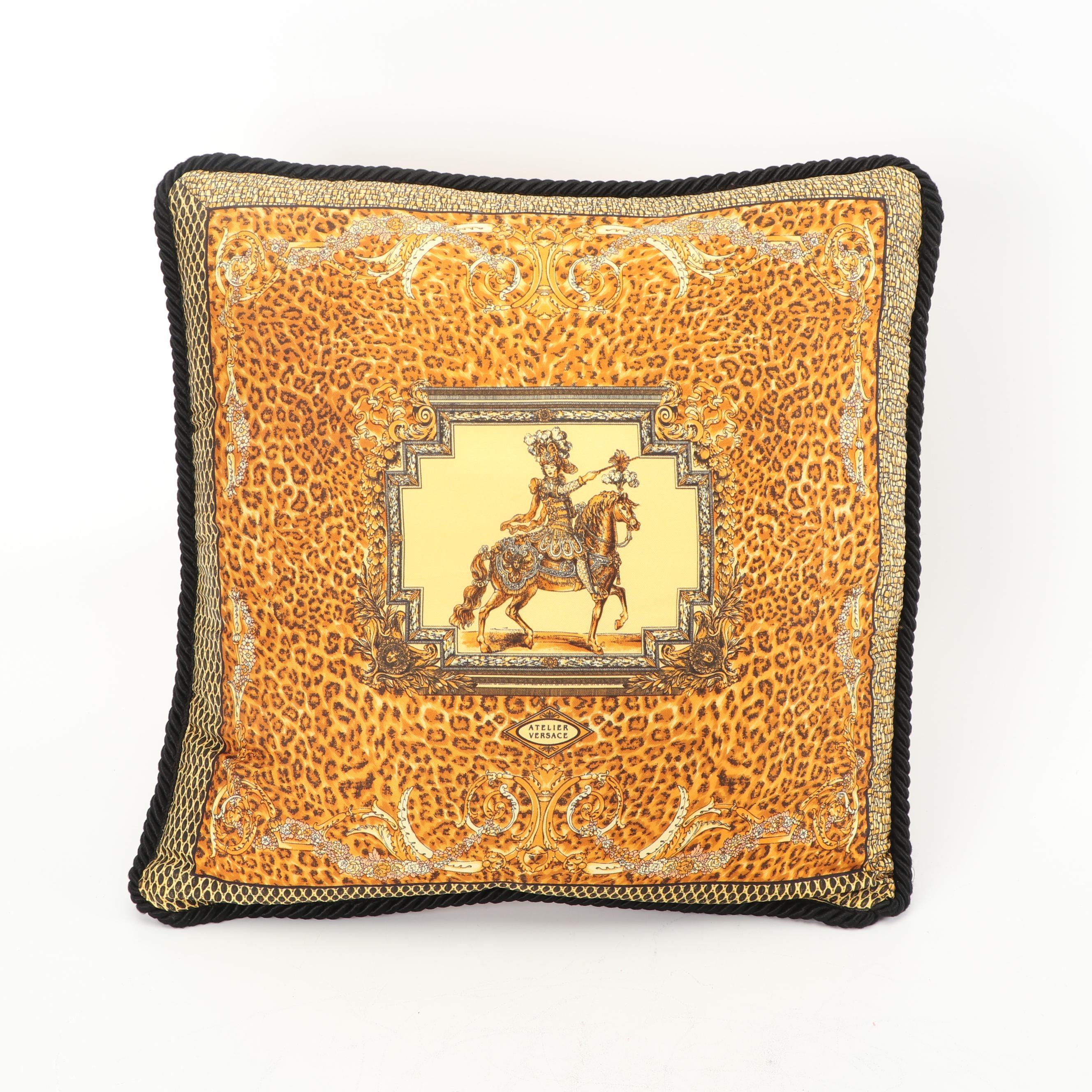 Atelier Versace Silk Leopard Print Throw Pillow
