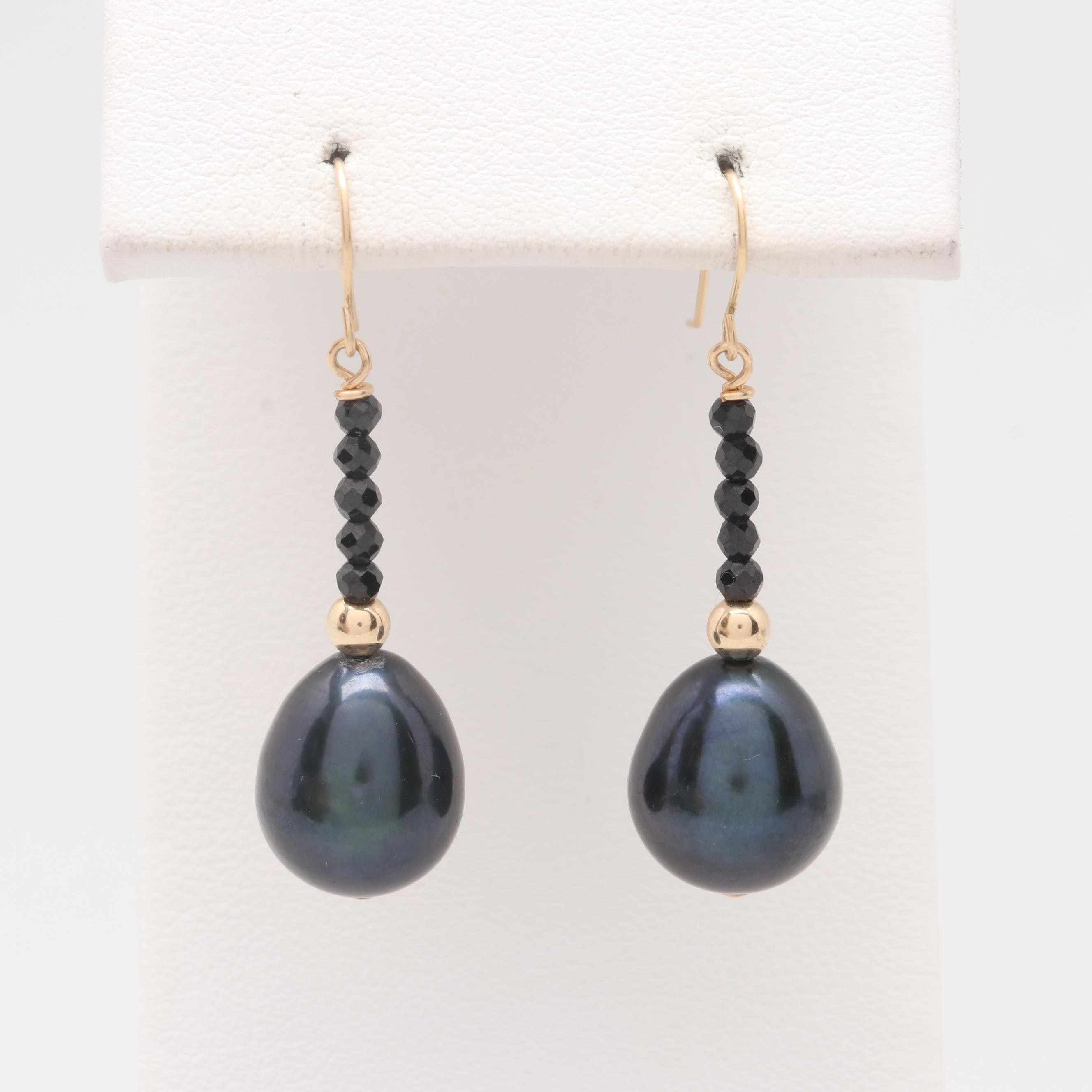 14K Yellow Gold Black Cultured Pearl and Black Spinel Earrings