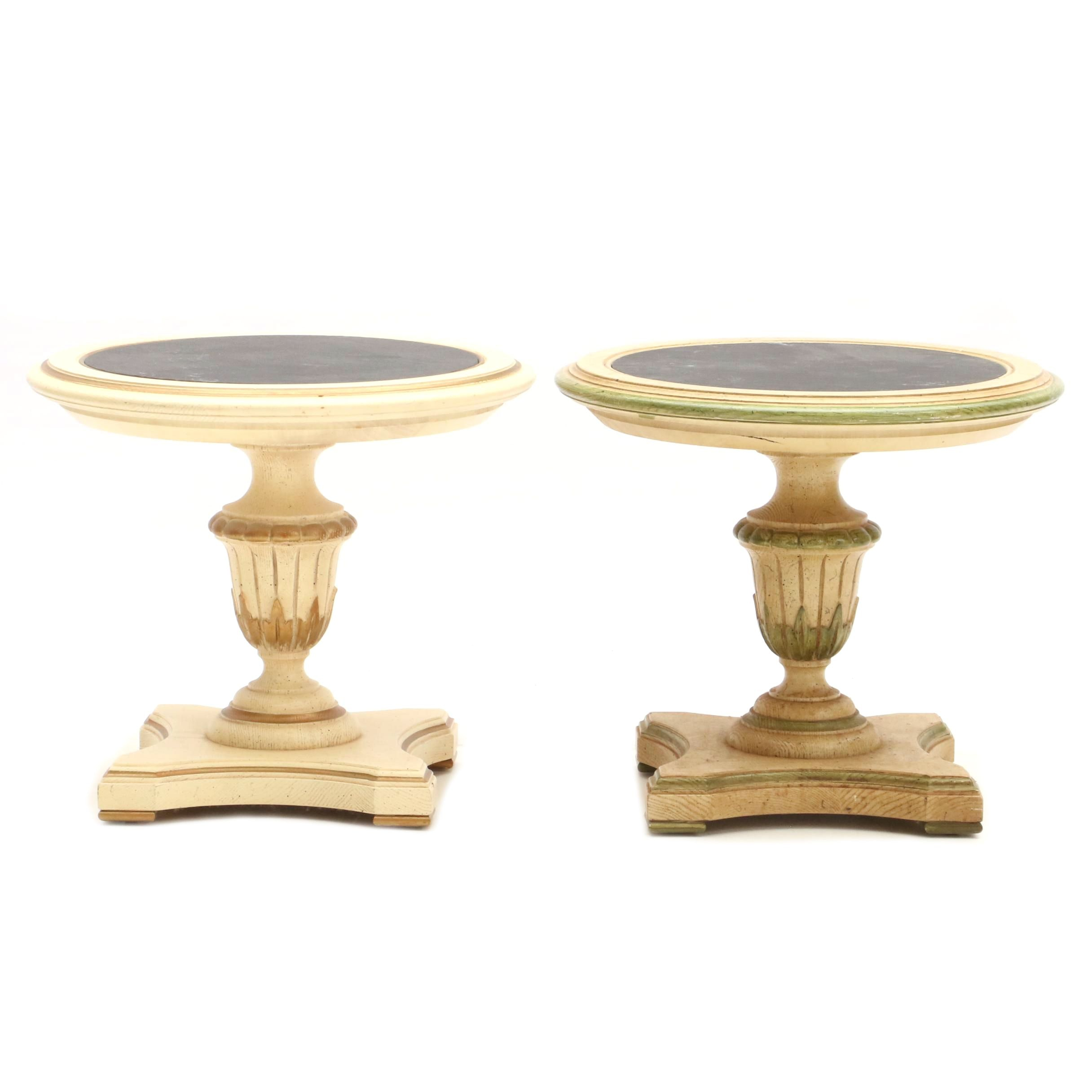 Two Oak Accent Tables with Faux Slate Tops